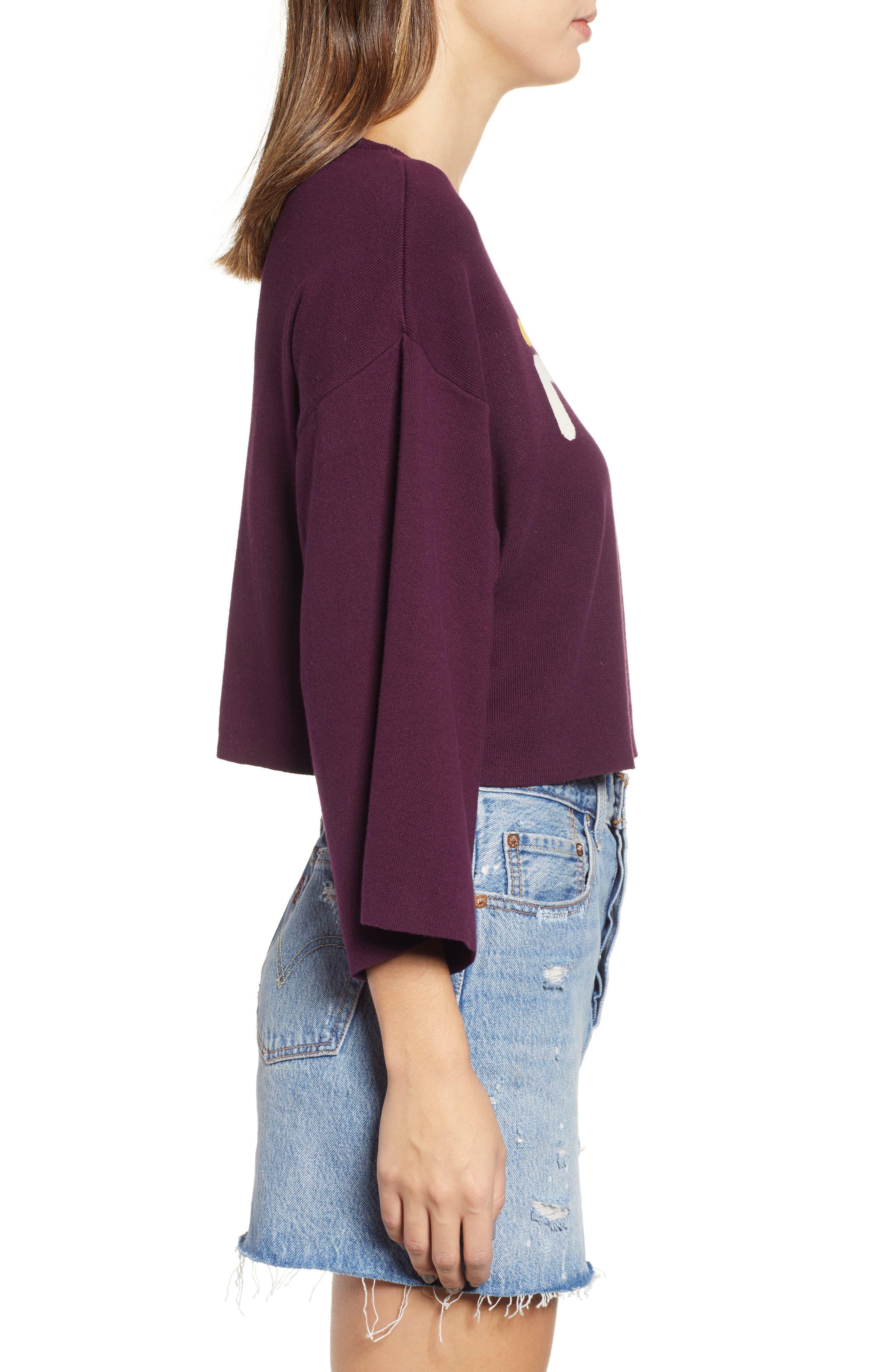 FILA, Palmira Crop Sweater, Alternate thumbnail 4, color, POTENT PURPLE