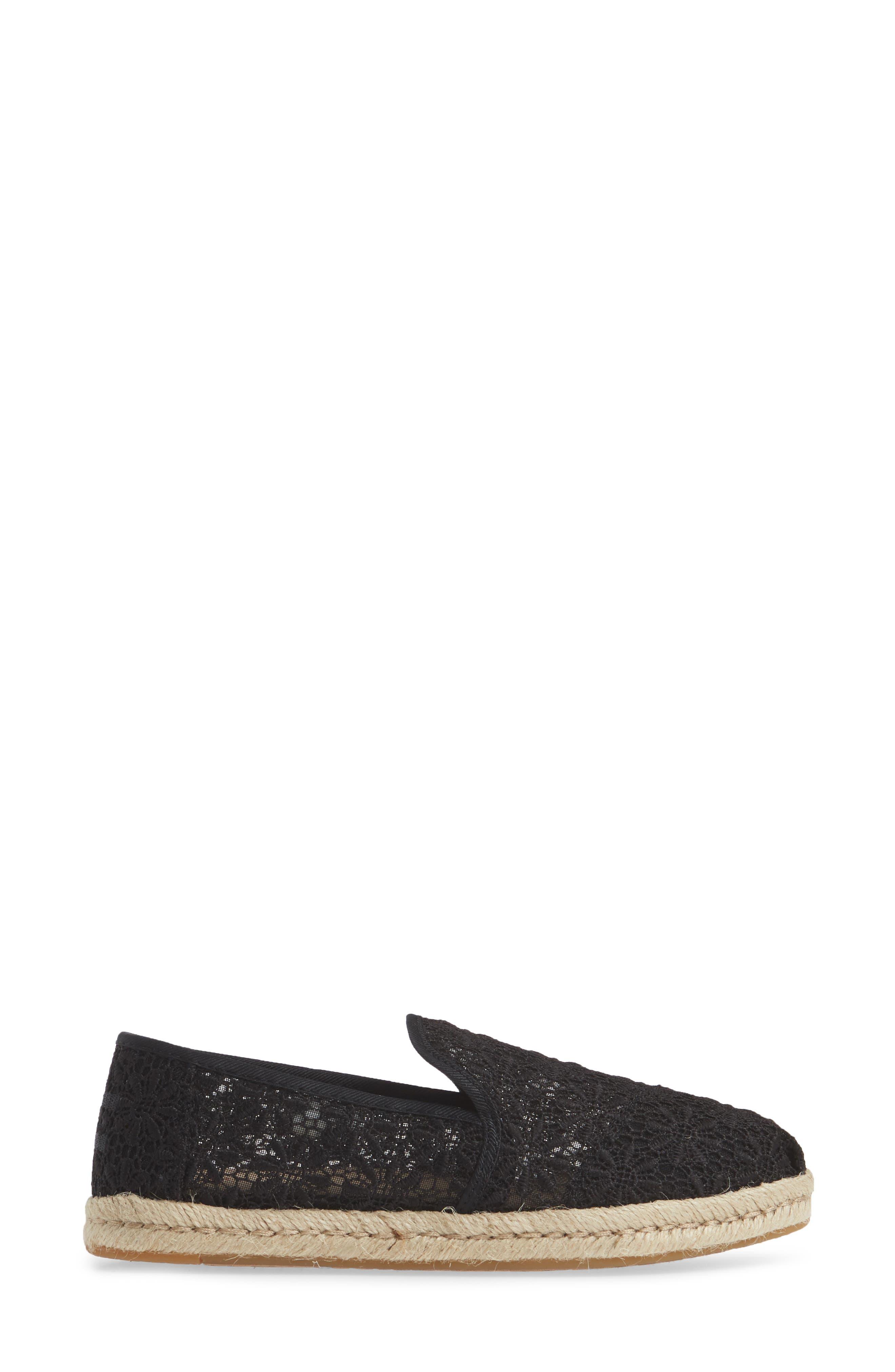 TOMS, Deconstructed Alpargata Slip-On, Alternate thumbnail 3, color, BLACK FLORAL LACE FABRIC