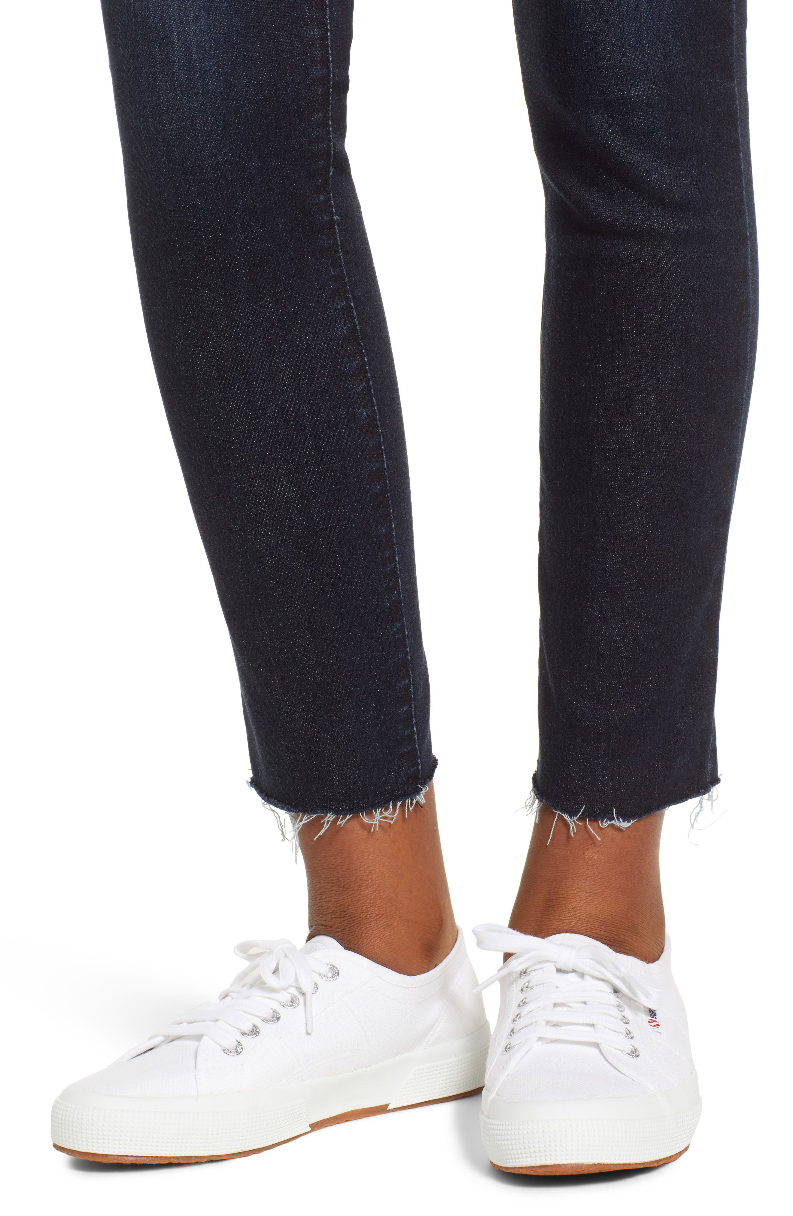 WIT & WISDOM, Ab-Solution Raw Hem Skinny Jeans, Alternate thumbnail 5, color, INDIGO