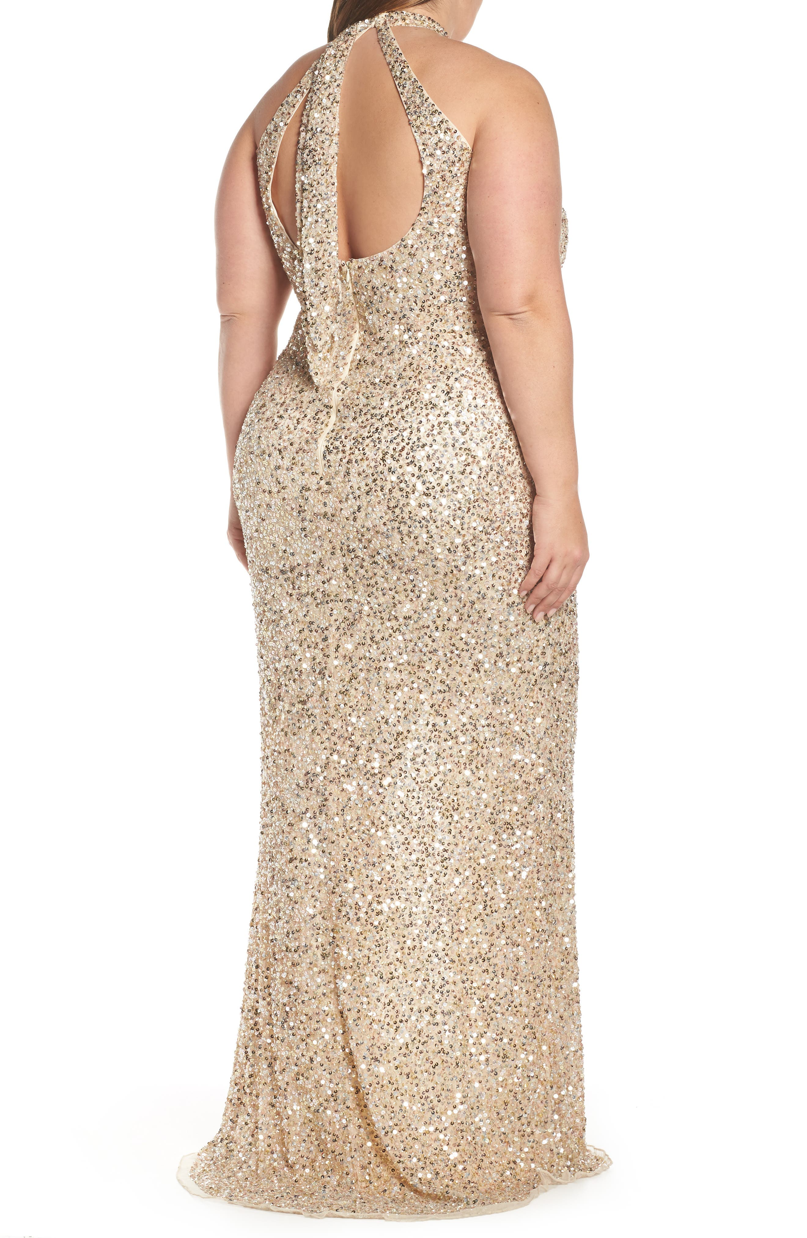 MAC DUGGAL, Sequin Mesh Evening Dress, Alternate thumbnail 2, color, NUDE GOLD