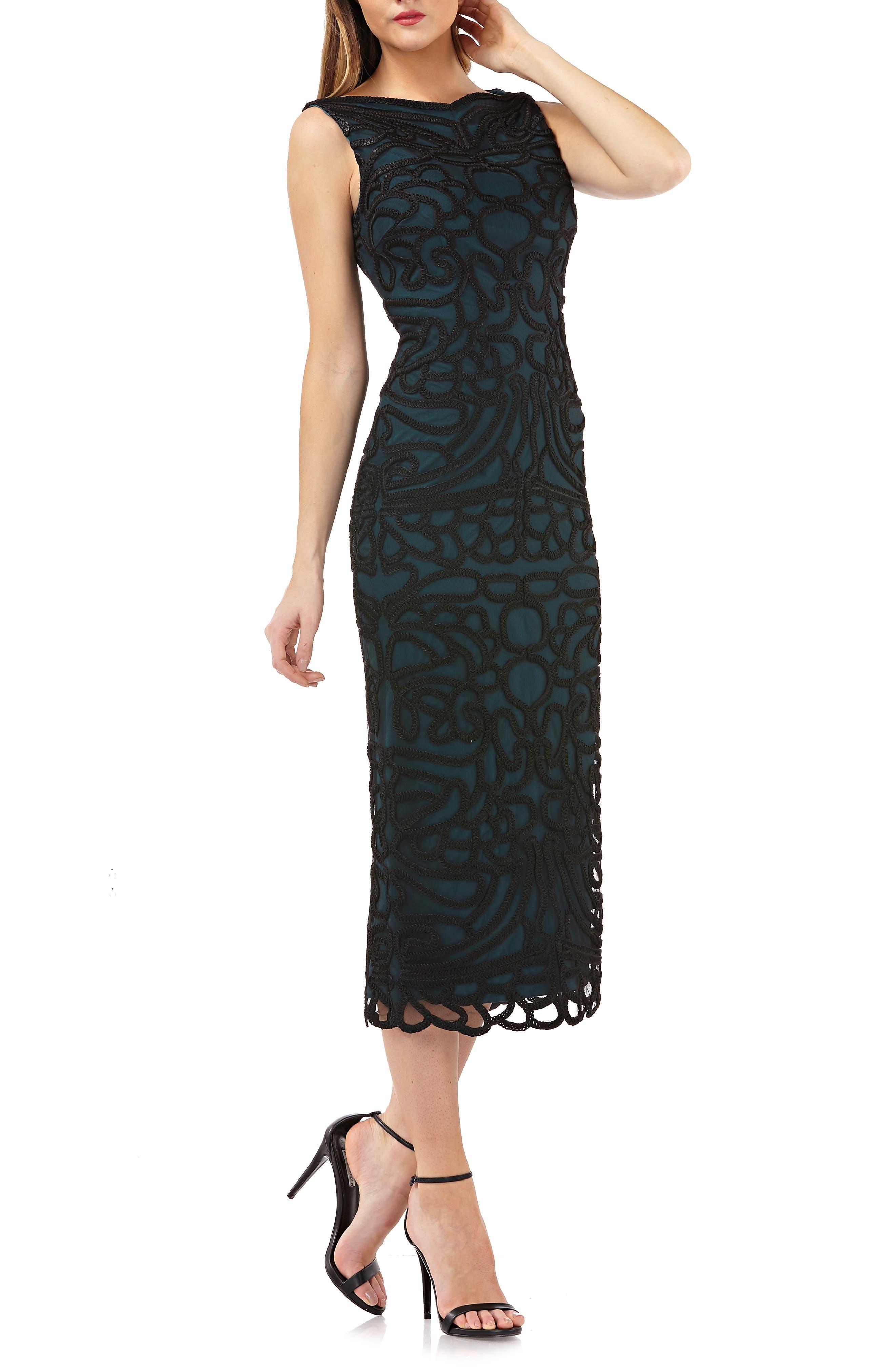 Js Collections Soutache Embroidered Midi Dress, Black