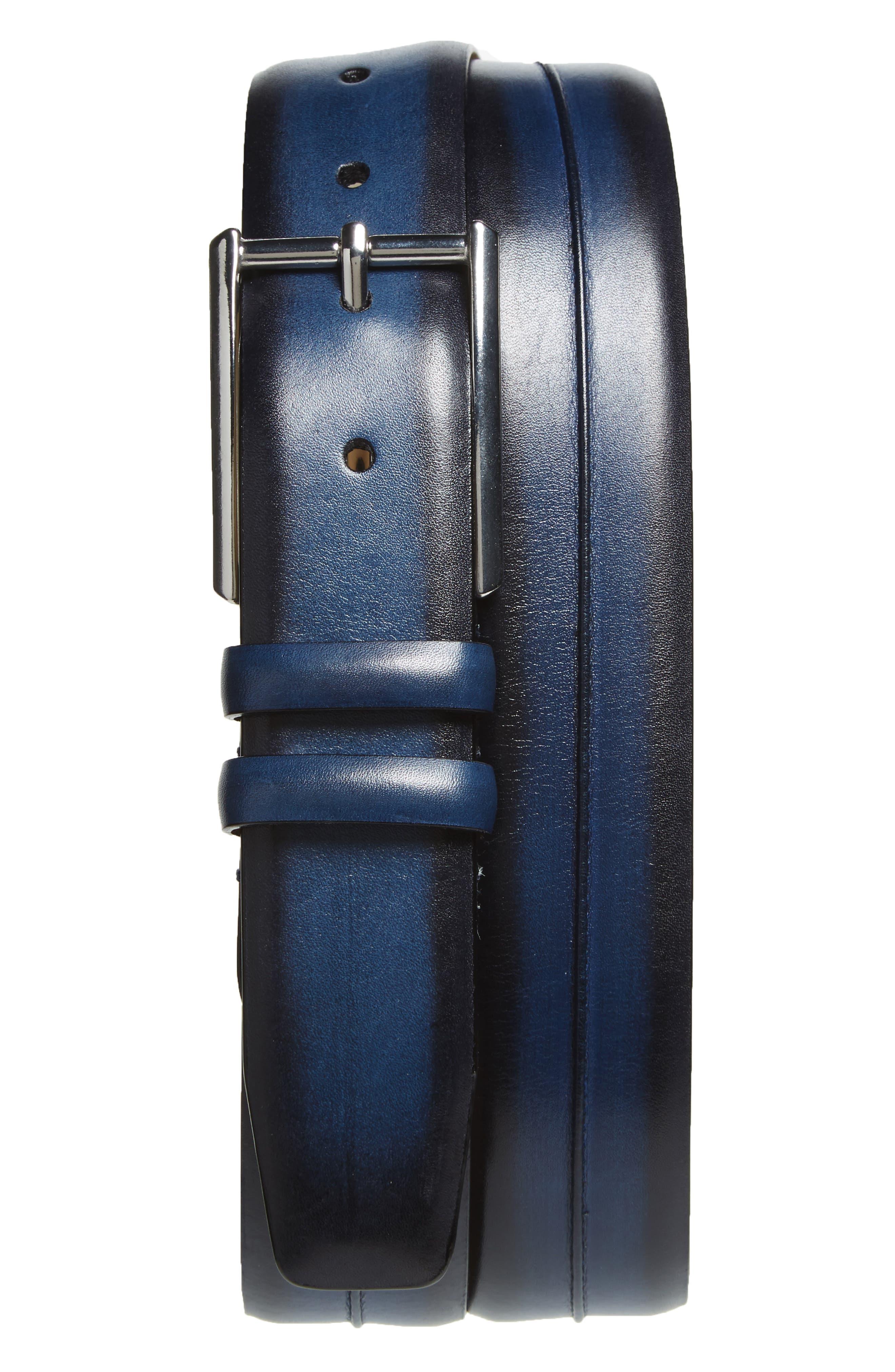 MEZLAN Palma Leather Belt, Main, color, MEDIUM BLUE