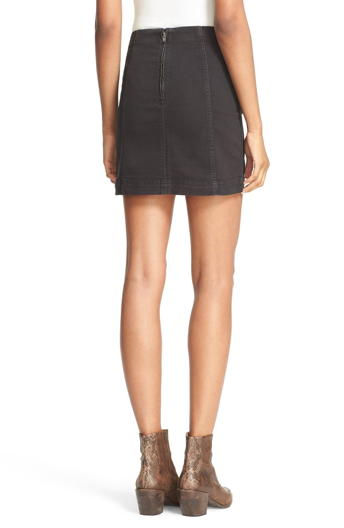 FREE PEOPLE, We the Free by Free People Modern Denim Miniskirt, Alternate thumbnail 2, color, 001