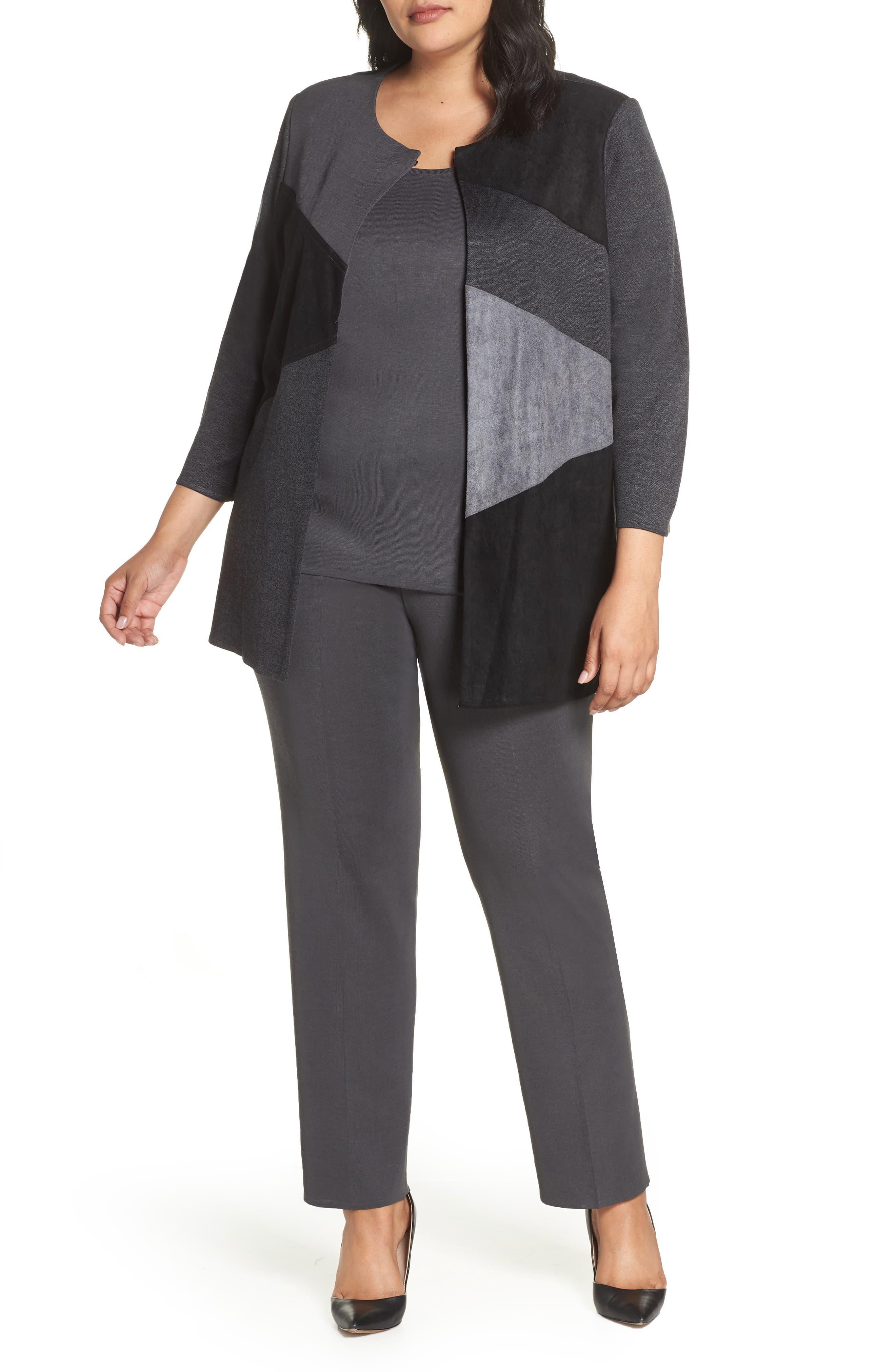 MING WANG, Colorblock Knit Jacket, Main thumbnail 1, color, BLACK/ GRANITE