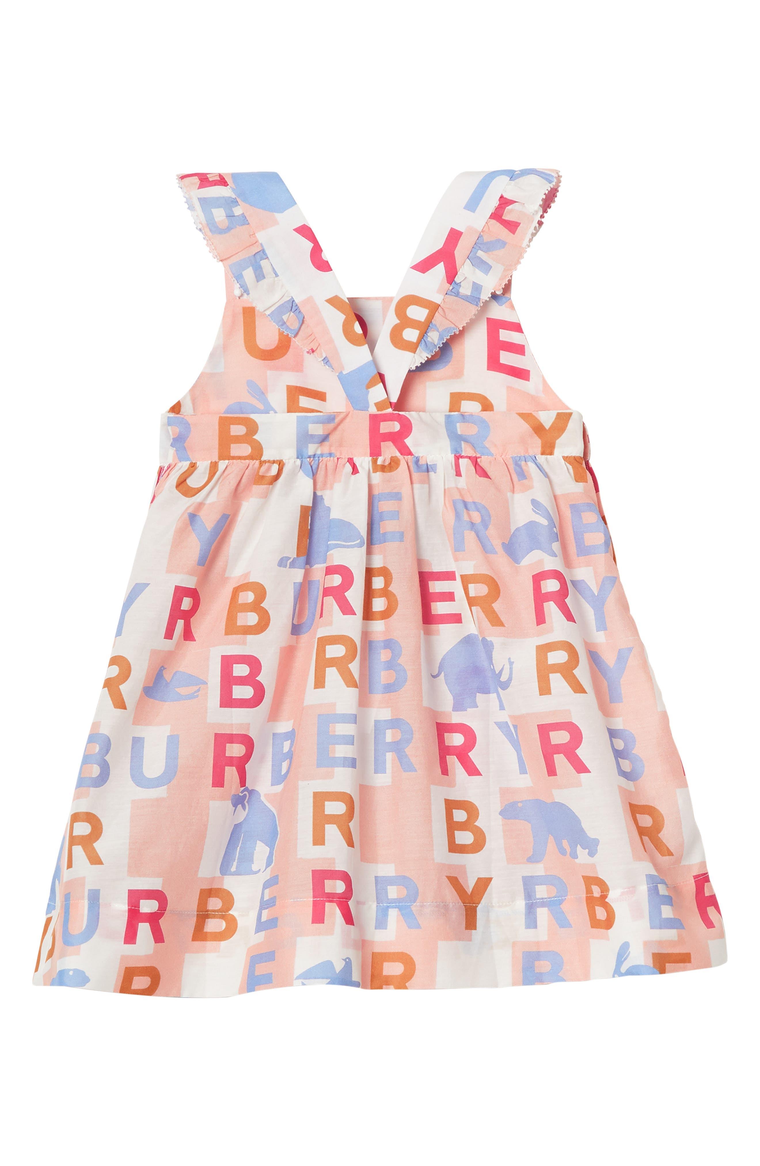 BURBERRY, Burbery Mini Livia Cotton & Silk Pinafore Dress, Alternate thumbnail 2, color, PALE ROSE