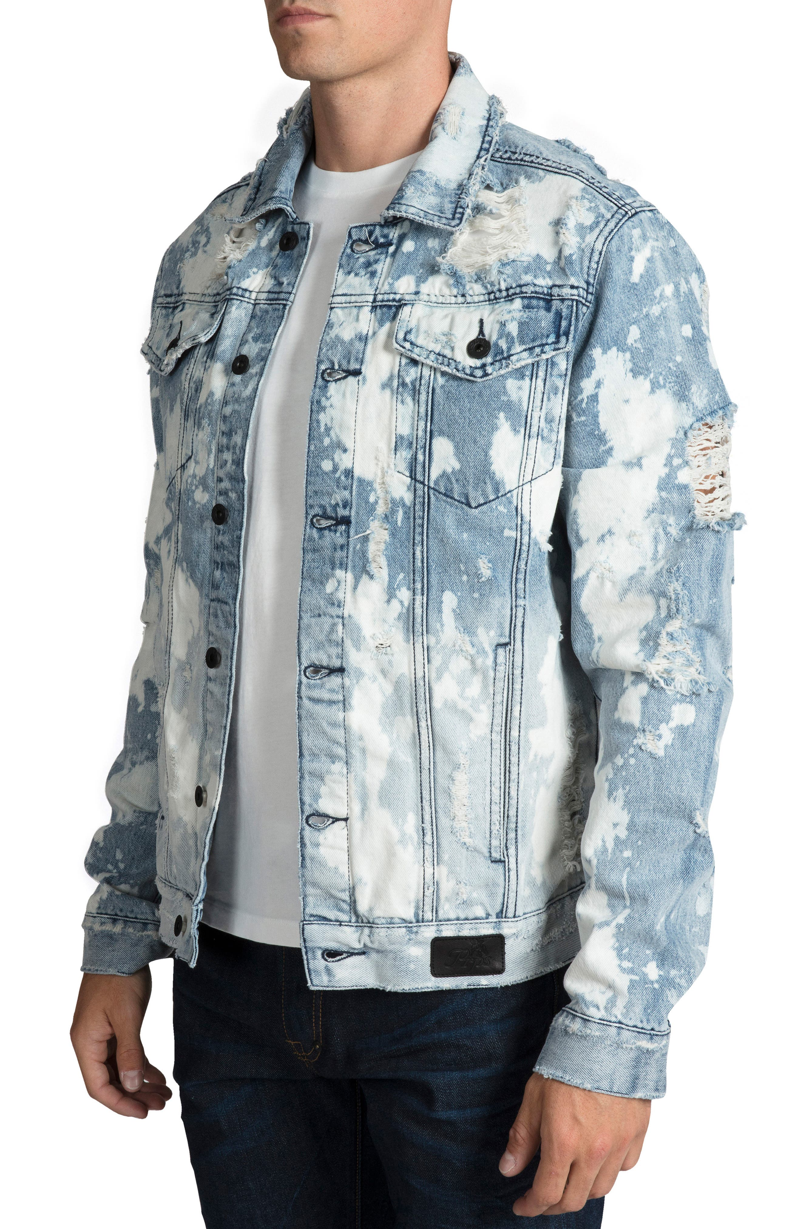 PRPS, City Scapes Ripped Denim Jacket, Alternate thumbnail 3, color, GUILTLESS