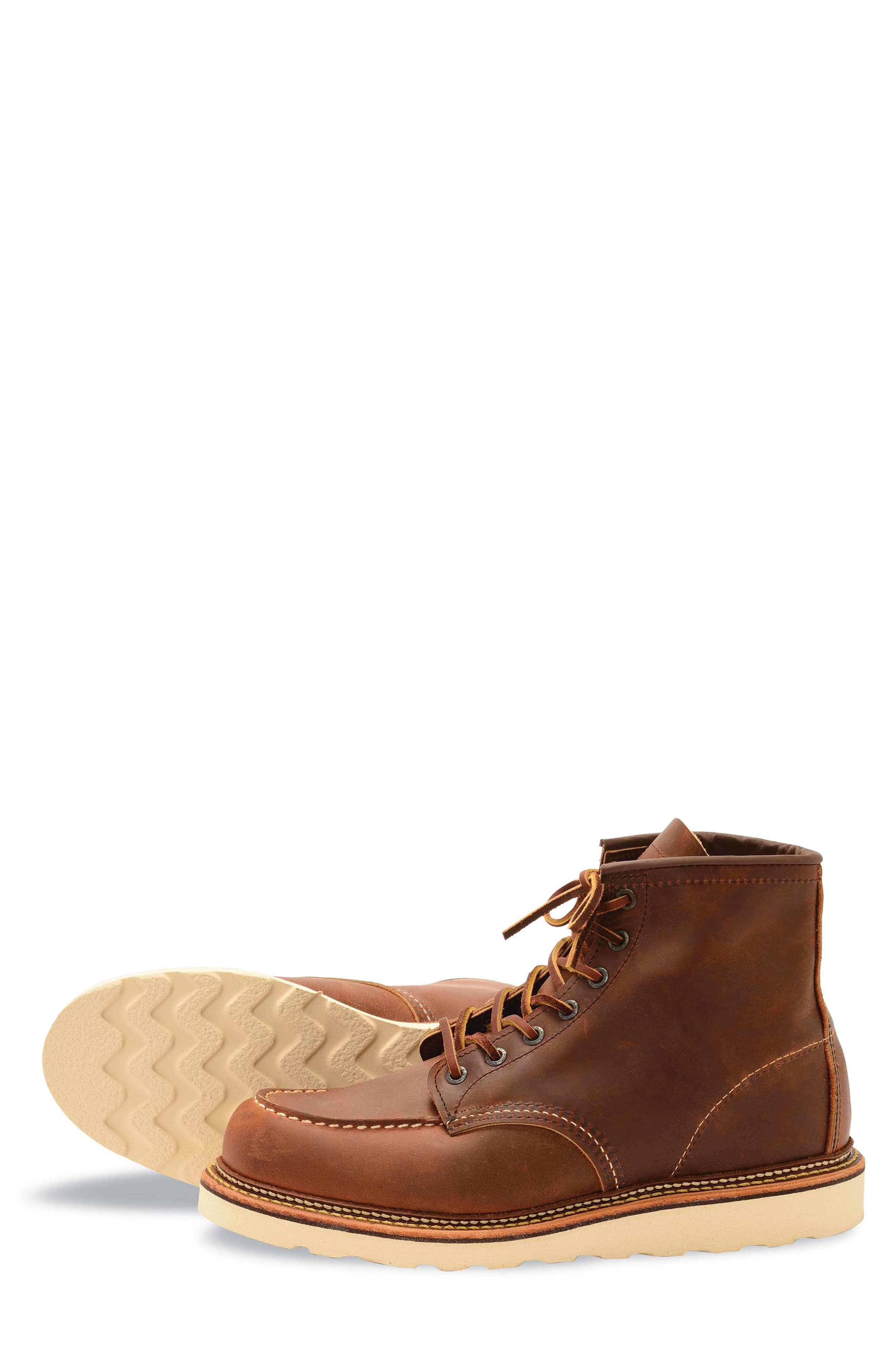 RED WING, Moc Toe Boot, Alternate thumbnail 5, color, COPPER BROWN- 1907