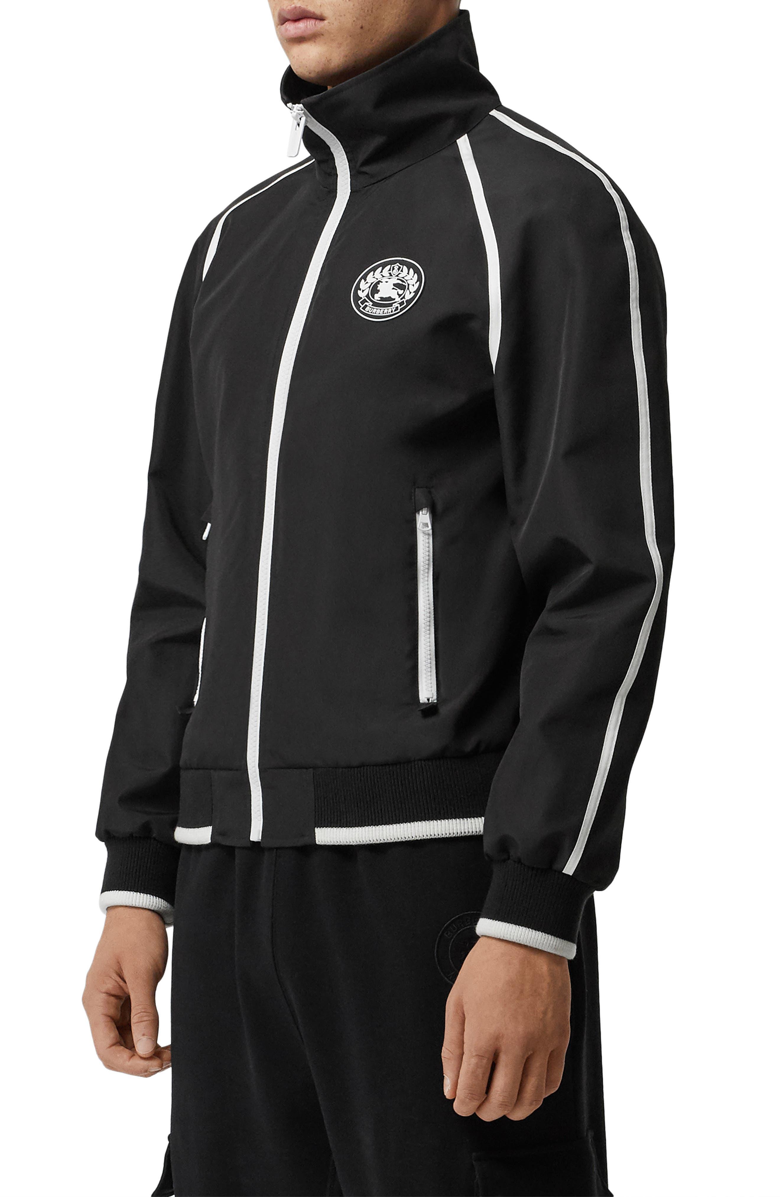 BURBERRY, Northfield Nylon Track Jacket, Alternate thumbnail 3, color, BLACK