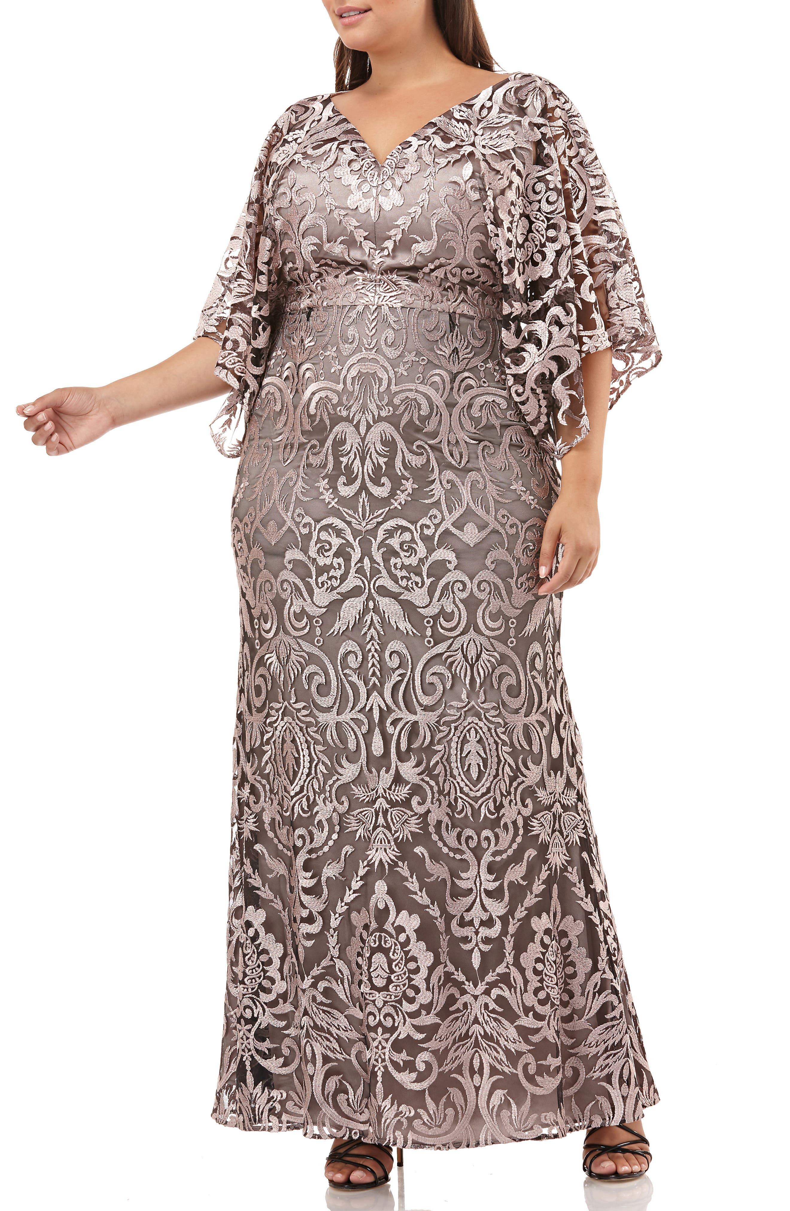 Plus Size Js Collections Embroidered Lace Evening Dress, Pink