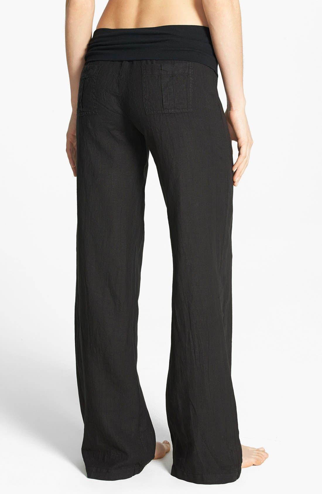 SOLOW, Wide Leg Linen Pants, Alternate thumbnail 3, color, 001