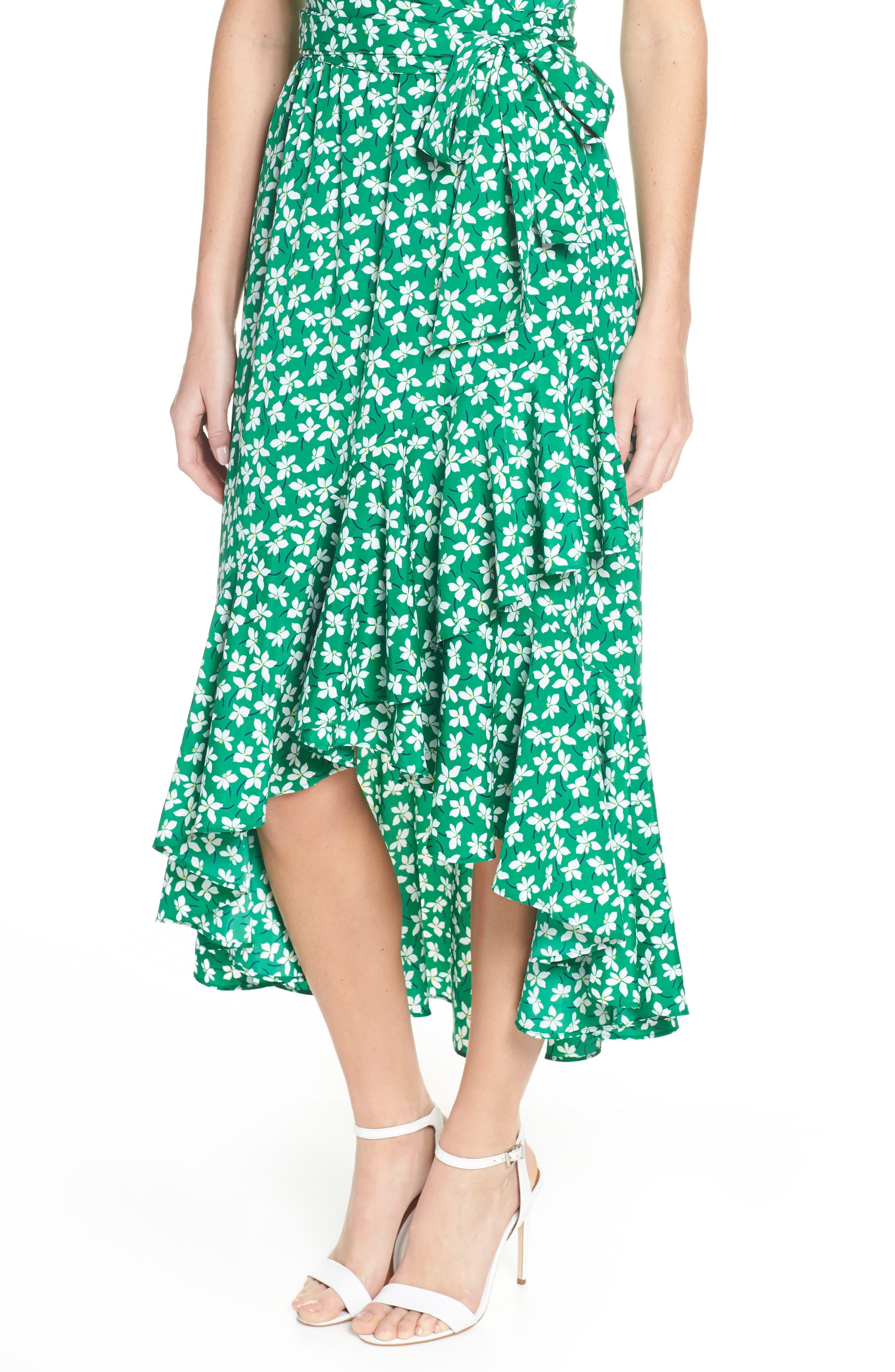 ELIZA J, Floral High/Low Faux Wrap Dress, Alternate thumbnail 5, color, GREEN