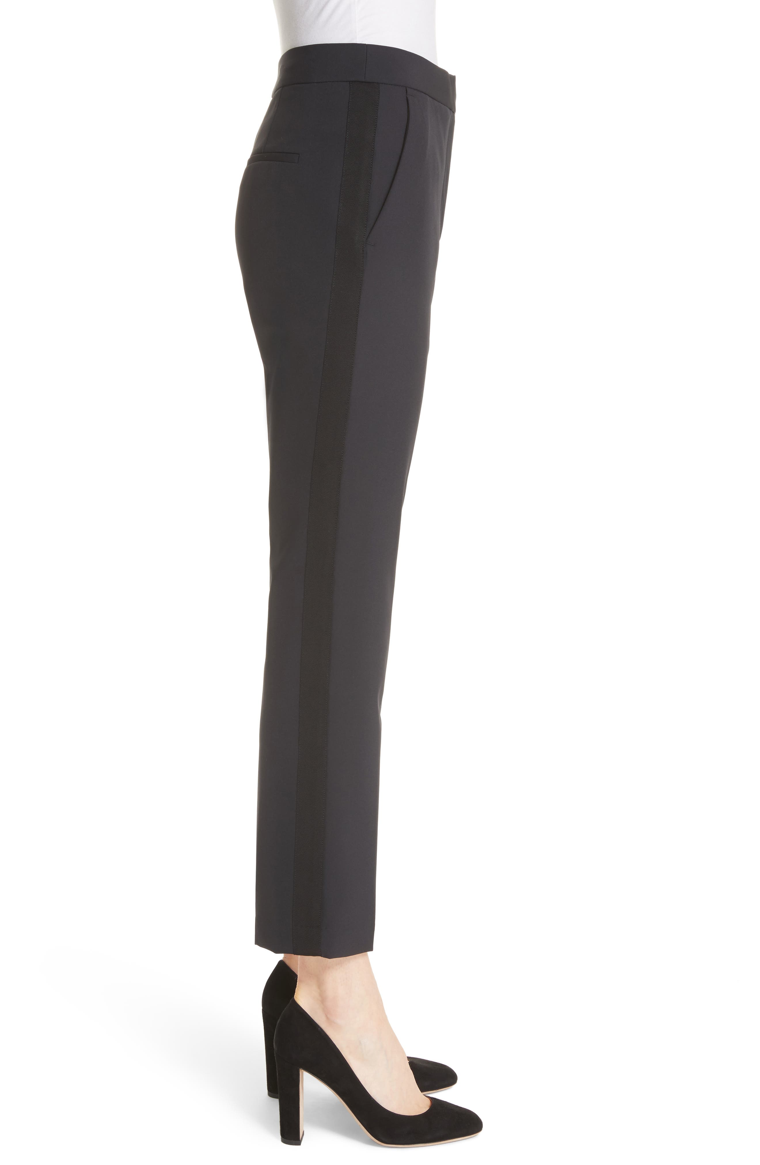REBECCA TAYLOR, Audra Crop Pants, Alternate thumbnail 4, color, BLACK