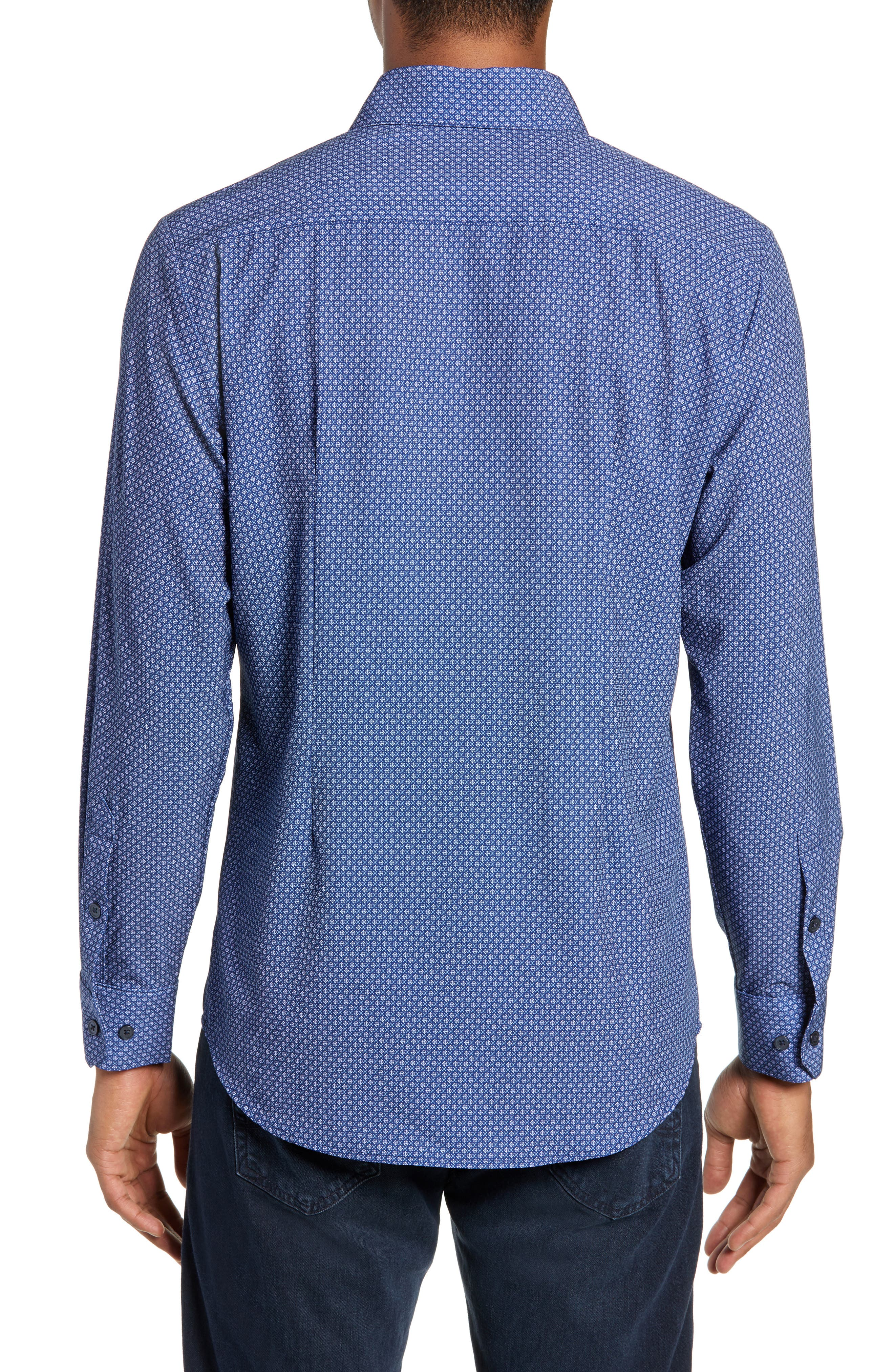 MIZZEN+MAIN, Atlantic Daisy Performance Sport Shirt, Alternate thumbnail 3, color, NAVY