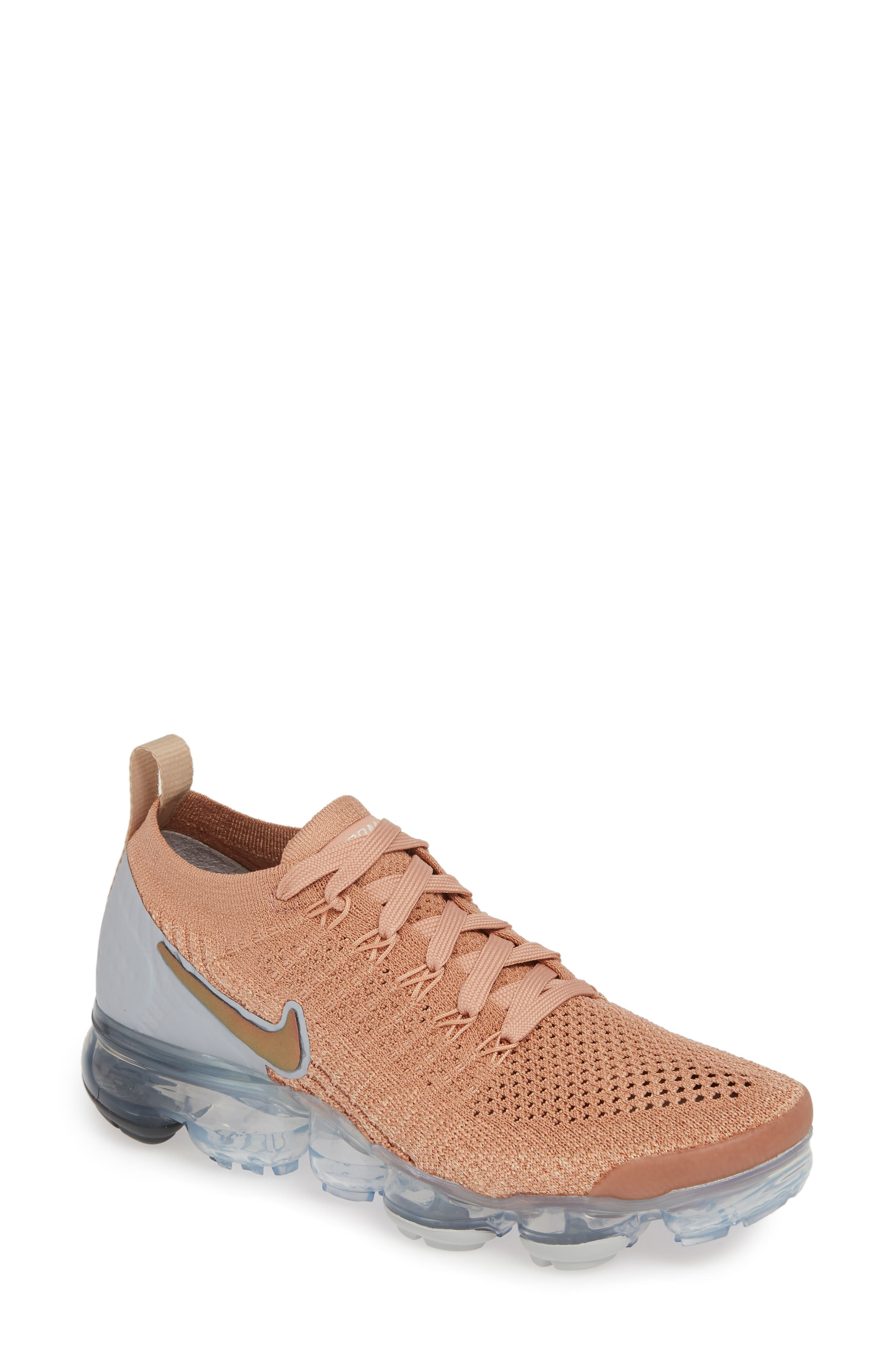 NIKE, Air VaporMax Flyknit 2 Running Shoe, Main thumbnail 1, color, ROSE GOLD/ BIO BEIGE
