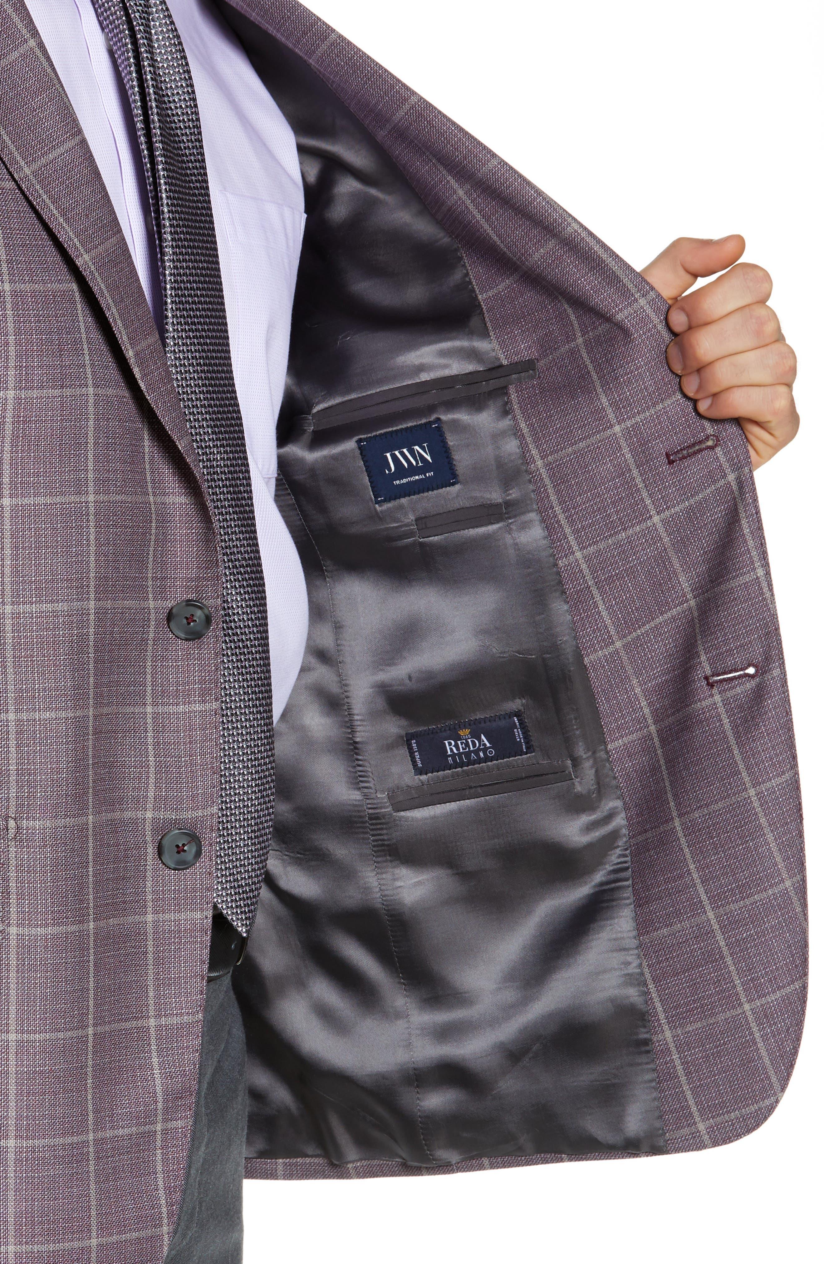JOHN W. NORDSTROM<SUP>®</SUP>, Traditional Fit Windowpane Wool Sport Coat, Alternate thumbnail 4, color, BURGUNDY SASS WINDOWPANE