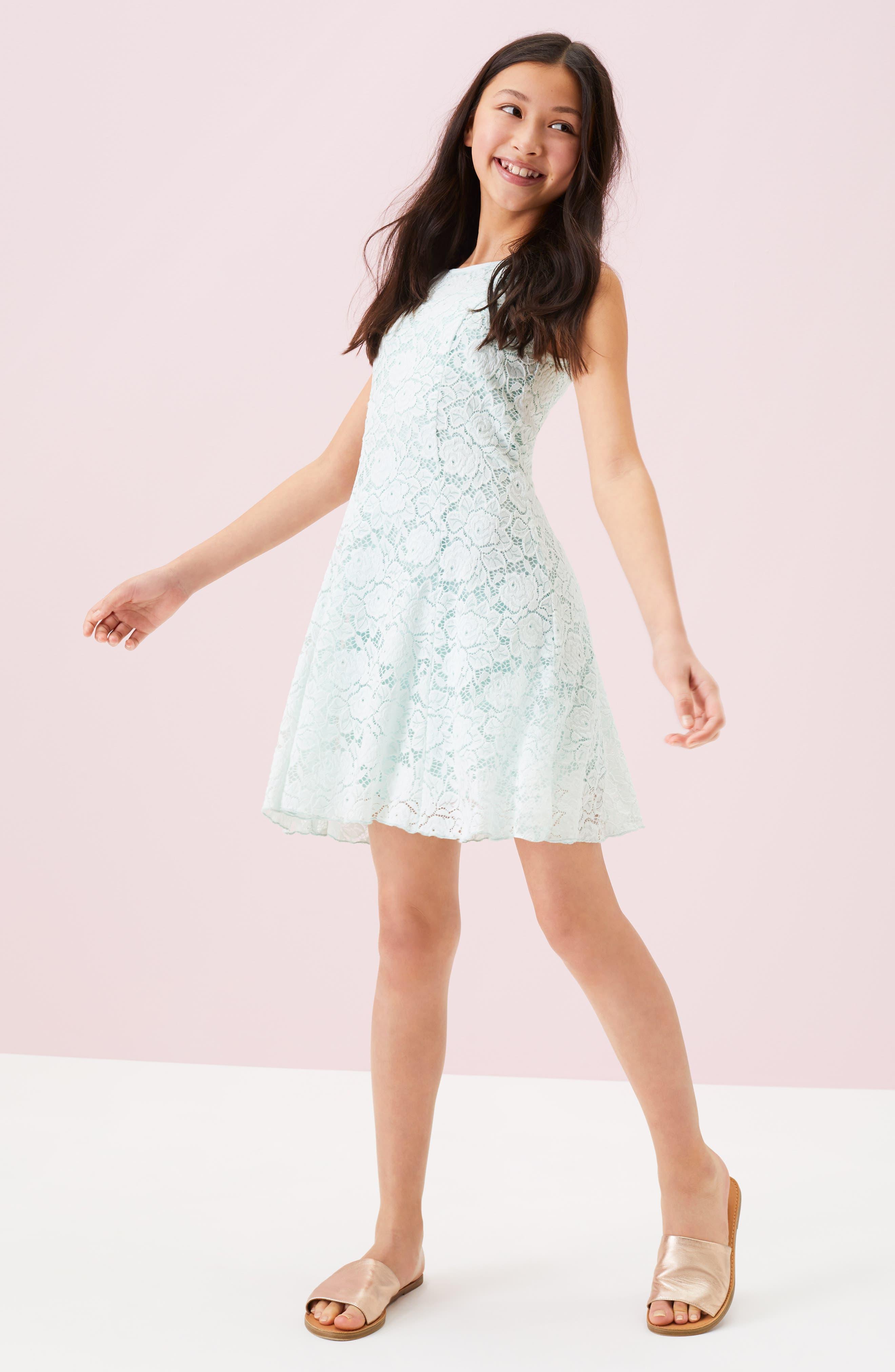 ZUNIE, Lace Skater Dress, Alternate thumbnail 4, color, MINT