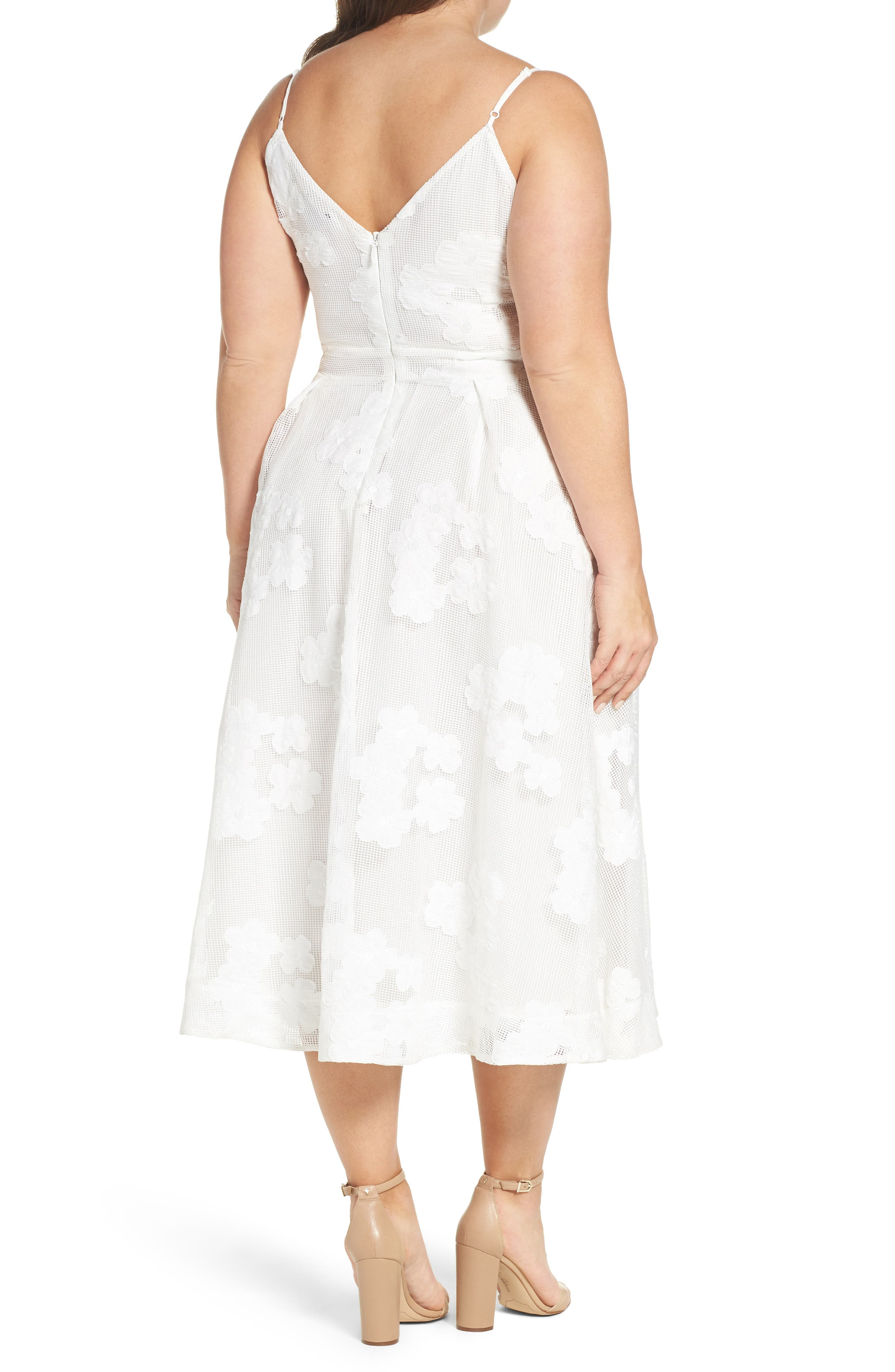 CITY CHIC, Mesh Floral Sundress, Alternate thumbnail 3, color, IVORY
