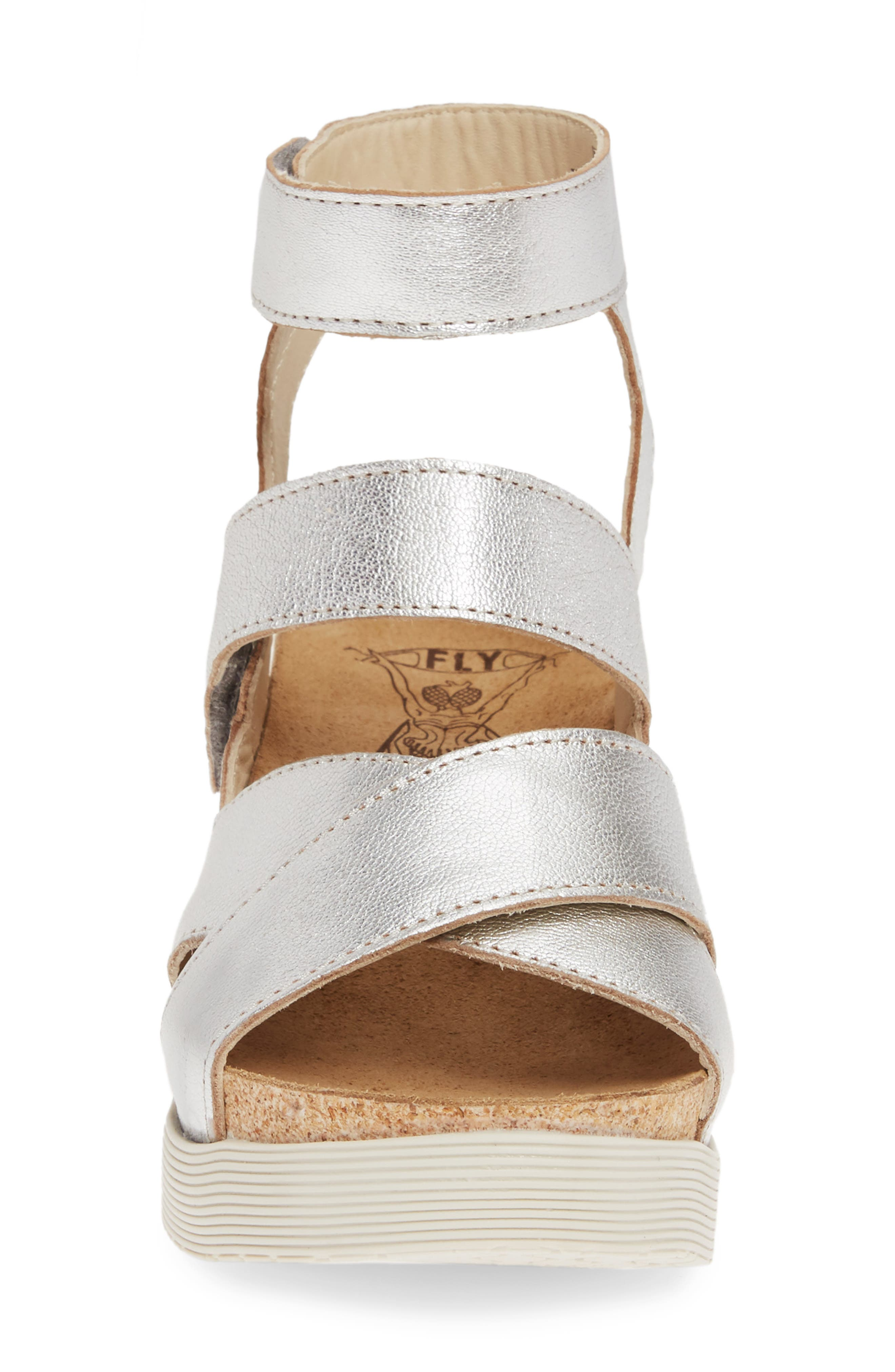 FLY LONDON, 'Wege' Leather Sandal, Alternate thumbnail 4, color, SILVER LEATHER