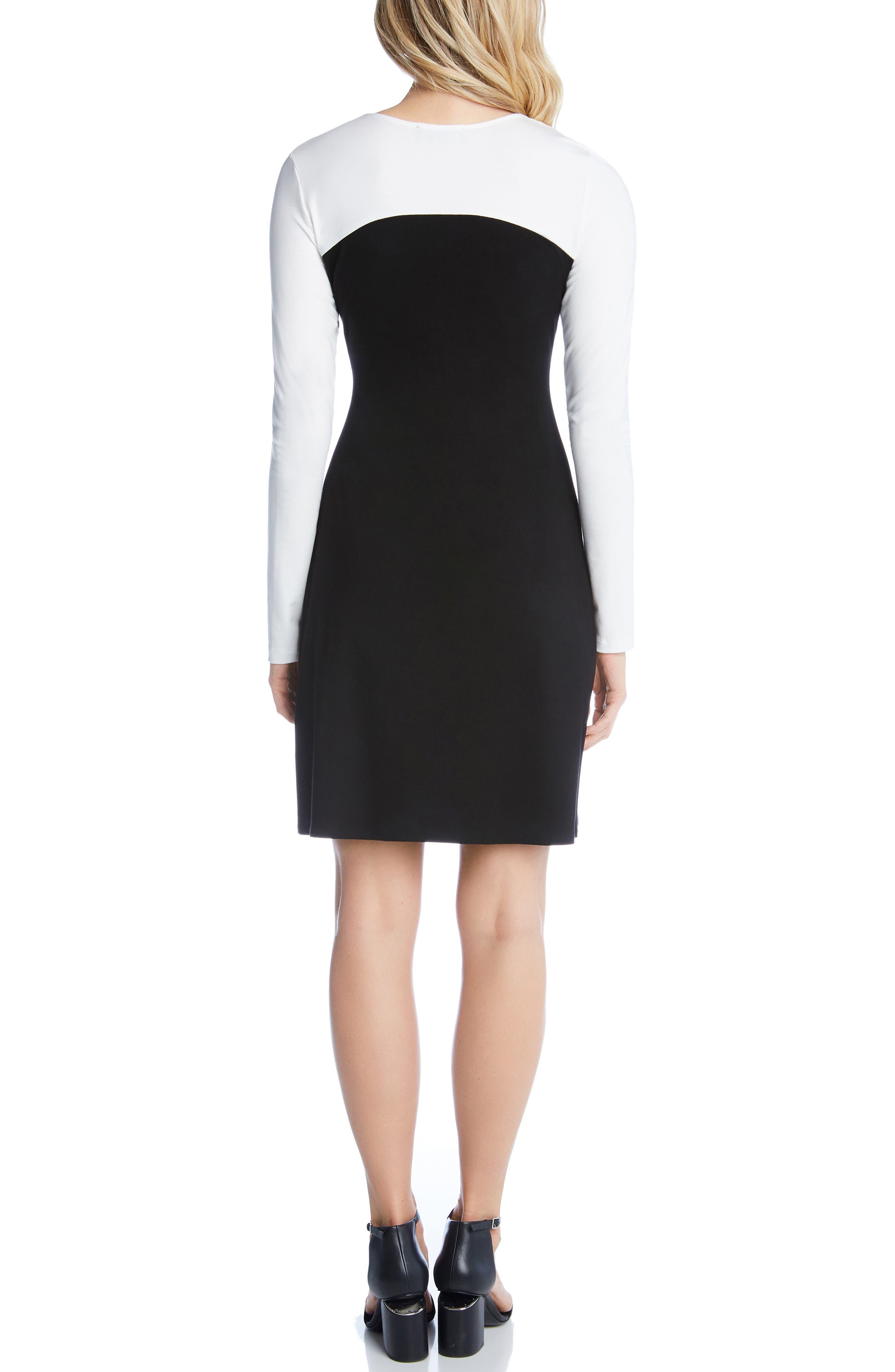 KAREN KANE, Colorblock Sheath Dress, Alternate thumbnail 2, color, BLACK WITH OFF WHITE