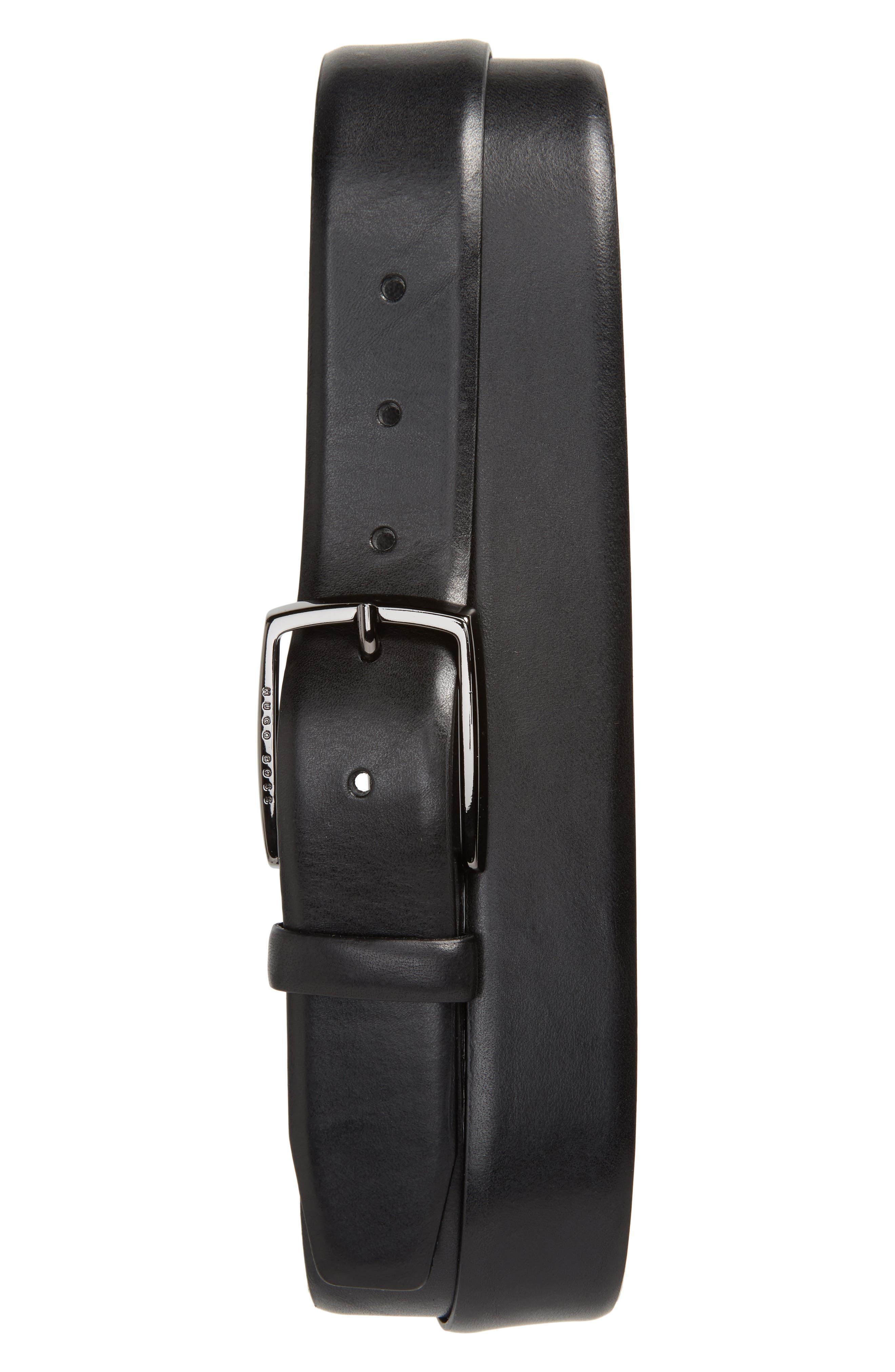 BOSS, Celie Leather Belt, Main thumbnail 1, color, BLACK