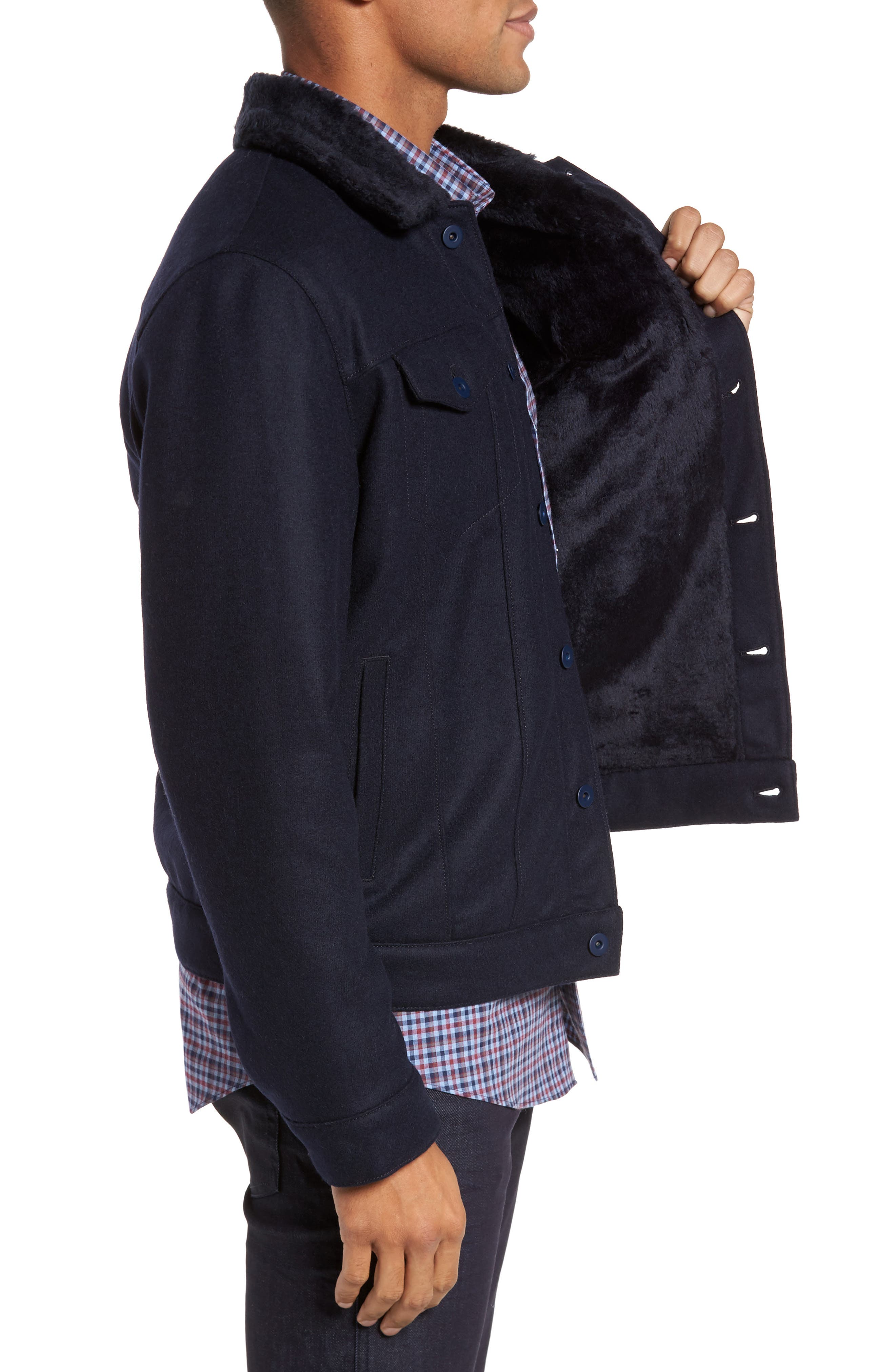 ZACHARY PRELL, Faux Fur Trim Jacket, Alternate thumbnail 3, color, NAVY