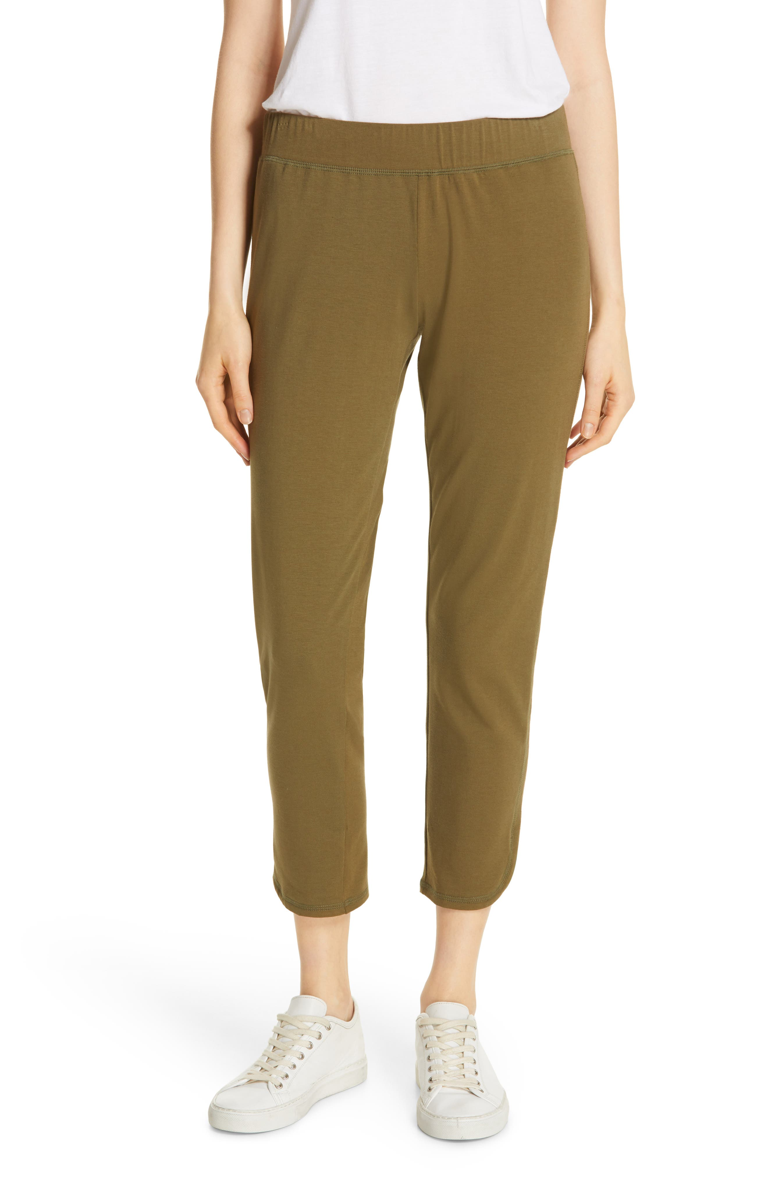 EILEEN FISHER, Slim Crop Pants, Main thumbnail 1, color, OLIVE