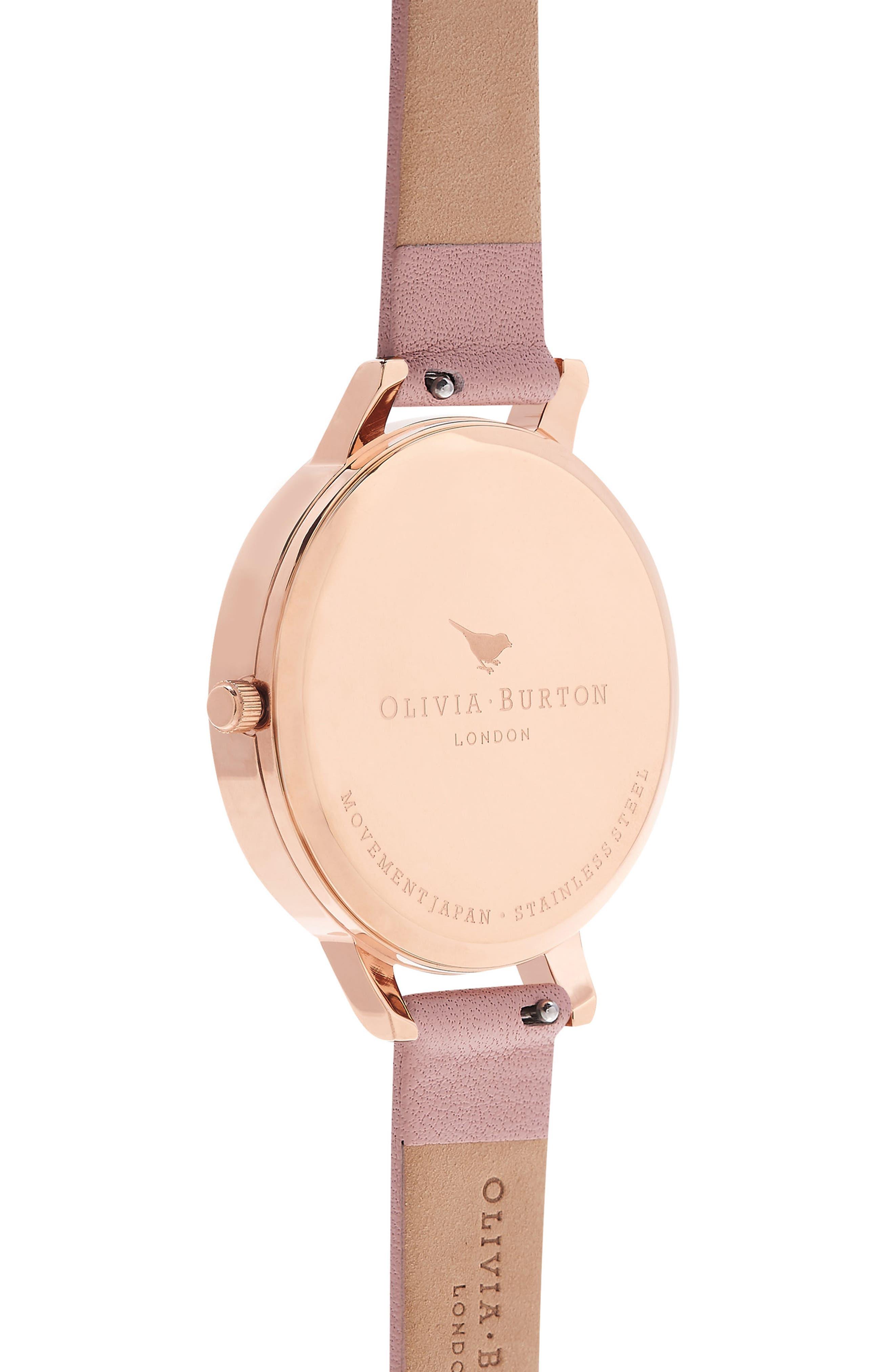 OLIVIA BURTON, Signature Florals Leather Strap Watch, 38mm, Alternate thumbnail 2, color, 650