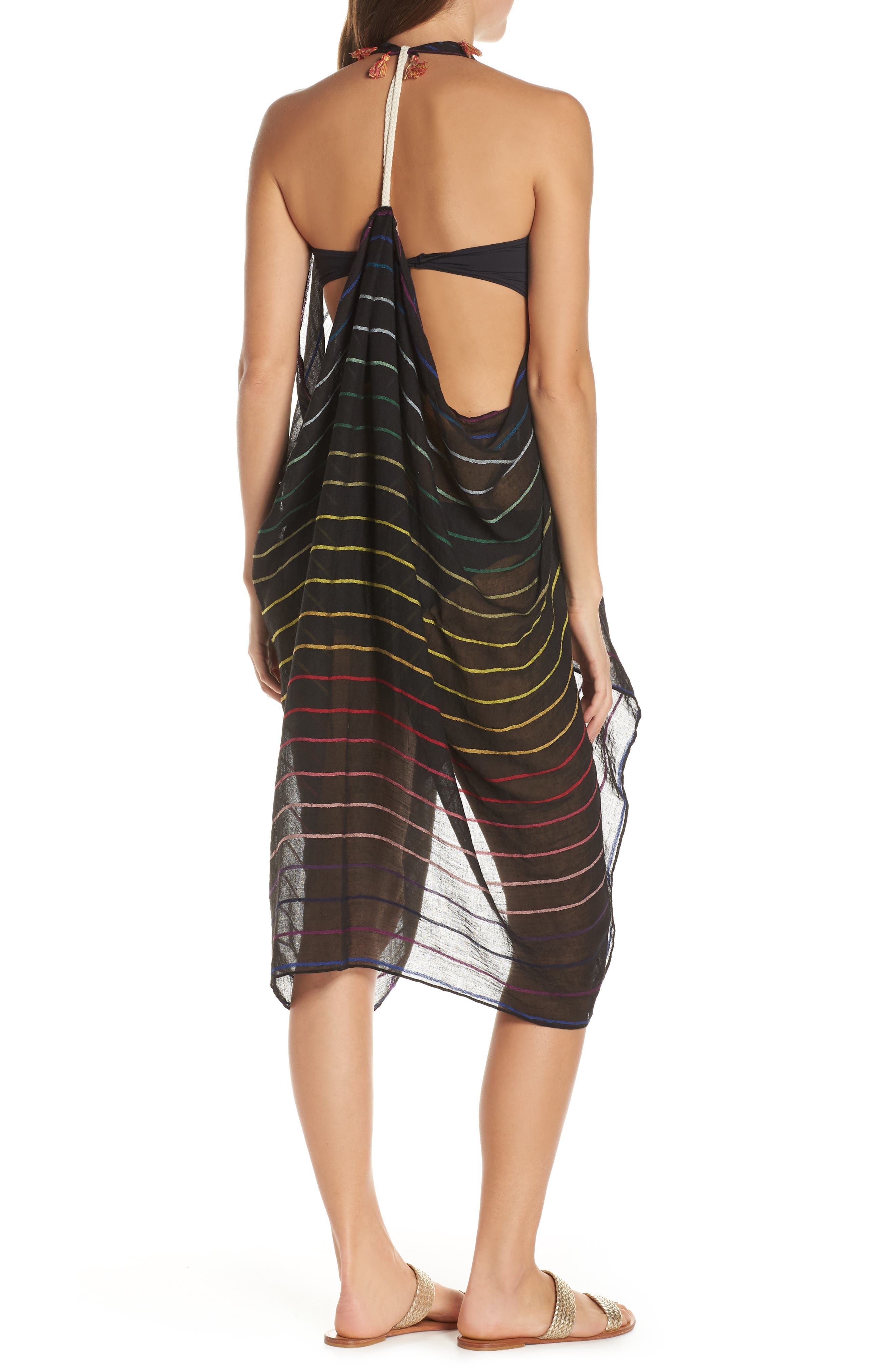 POOL TO PARTY, Spirit Cover-Up Vest, Alternate thumbnail 5, color, BLACK