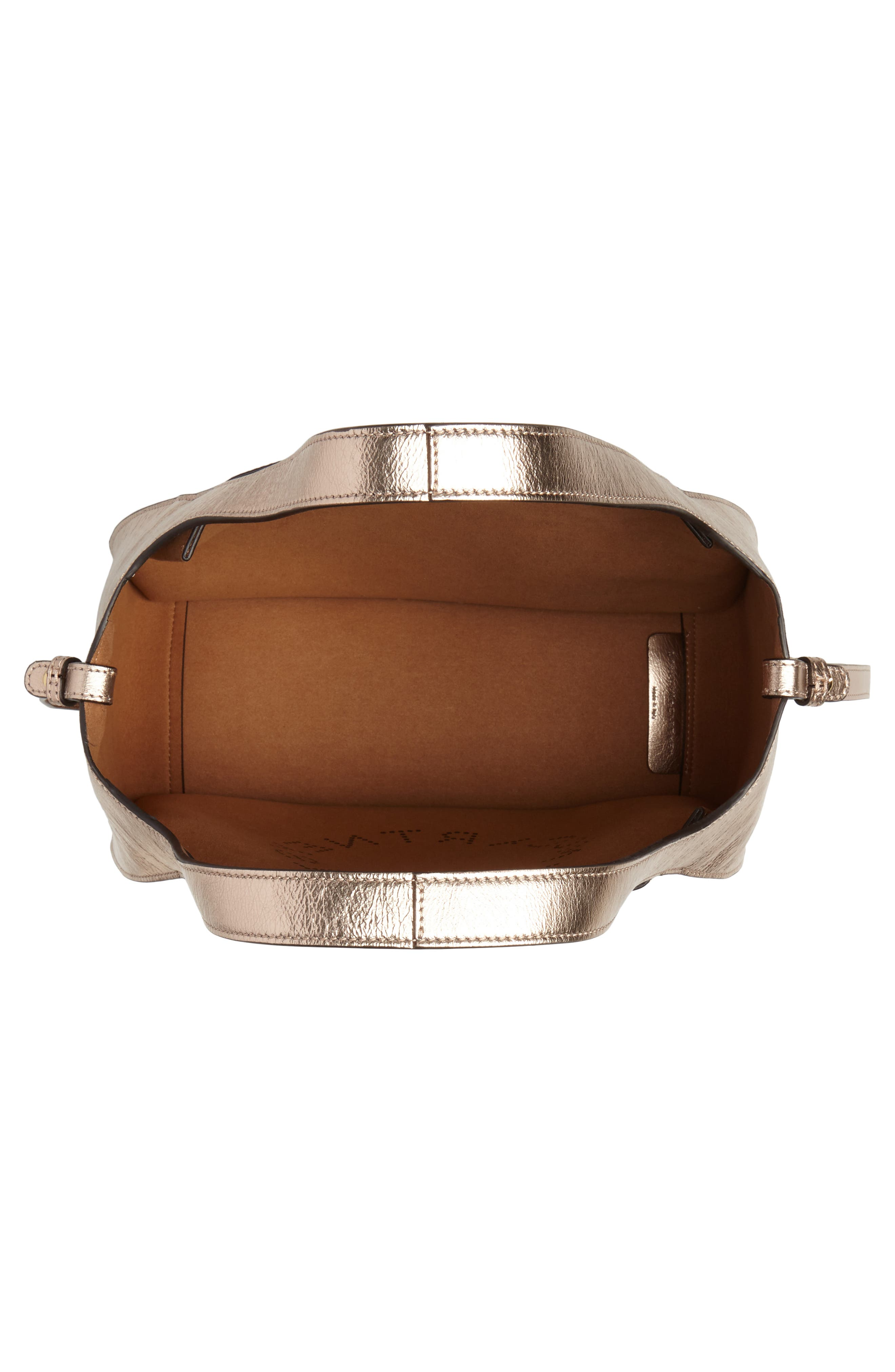 STELLA MCCARTNEY, Perforated Logo Metallic Faux Leather Satchel, Alternate thumbnail 4, color, ROSE GOLD