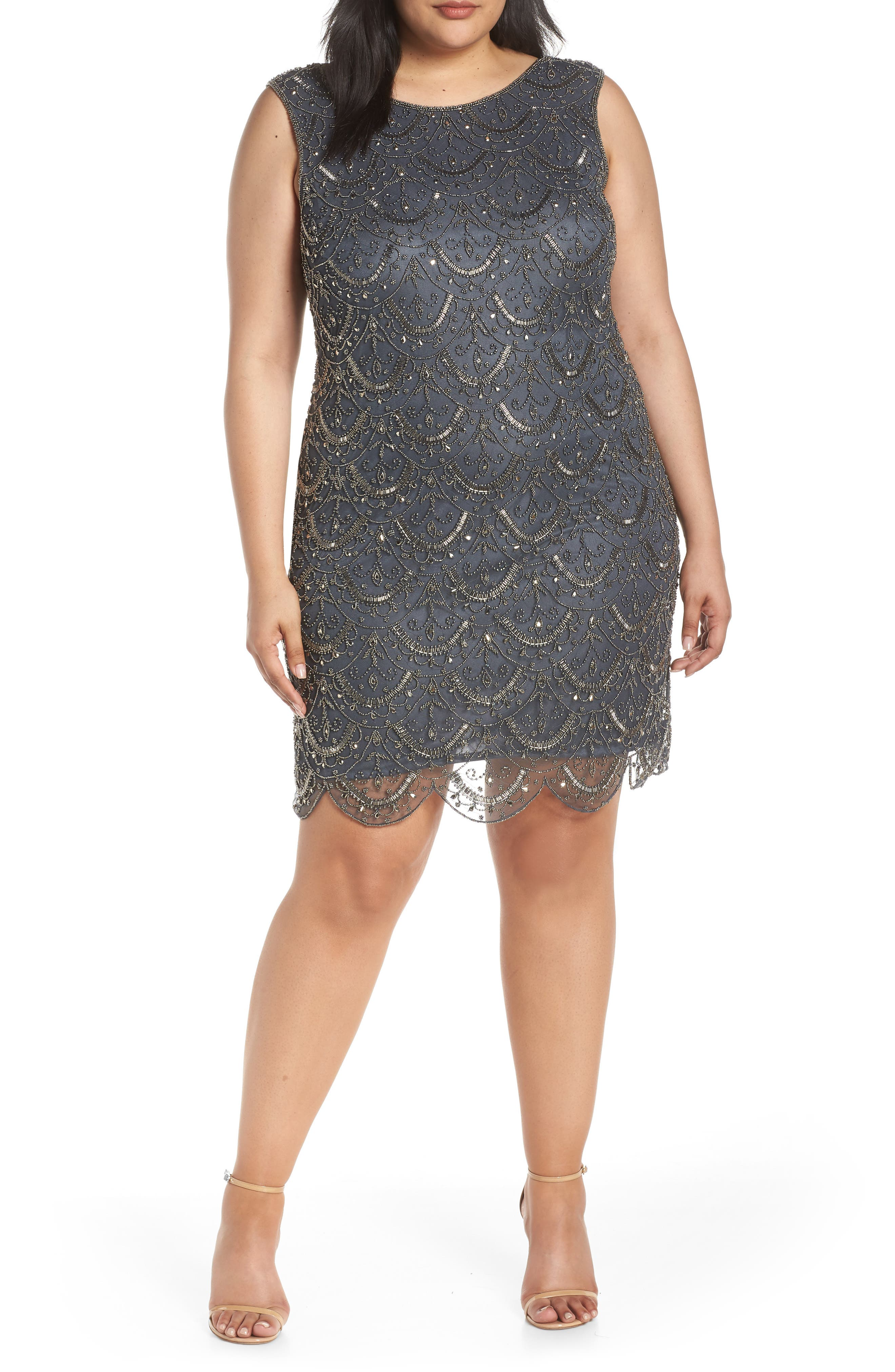 Plus Size Pisarro Nights Scallop Beaded Cocktail Dress, Grey