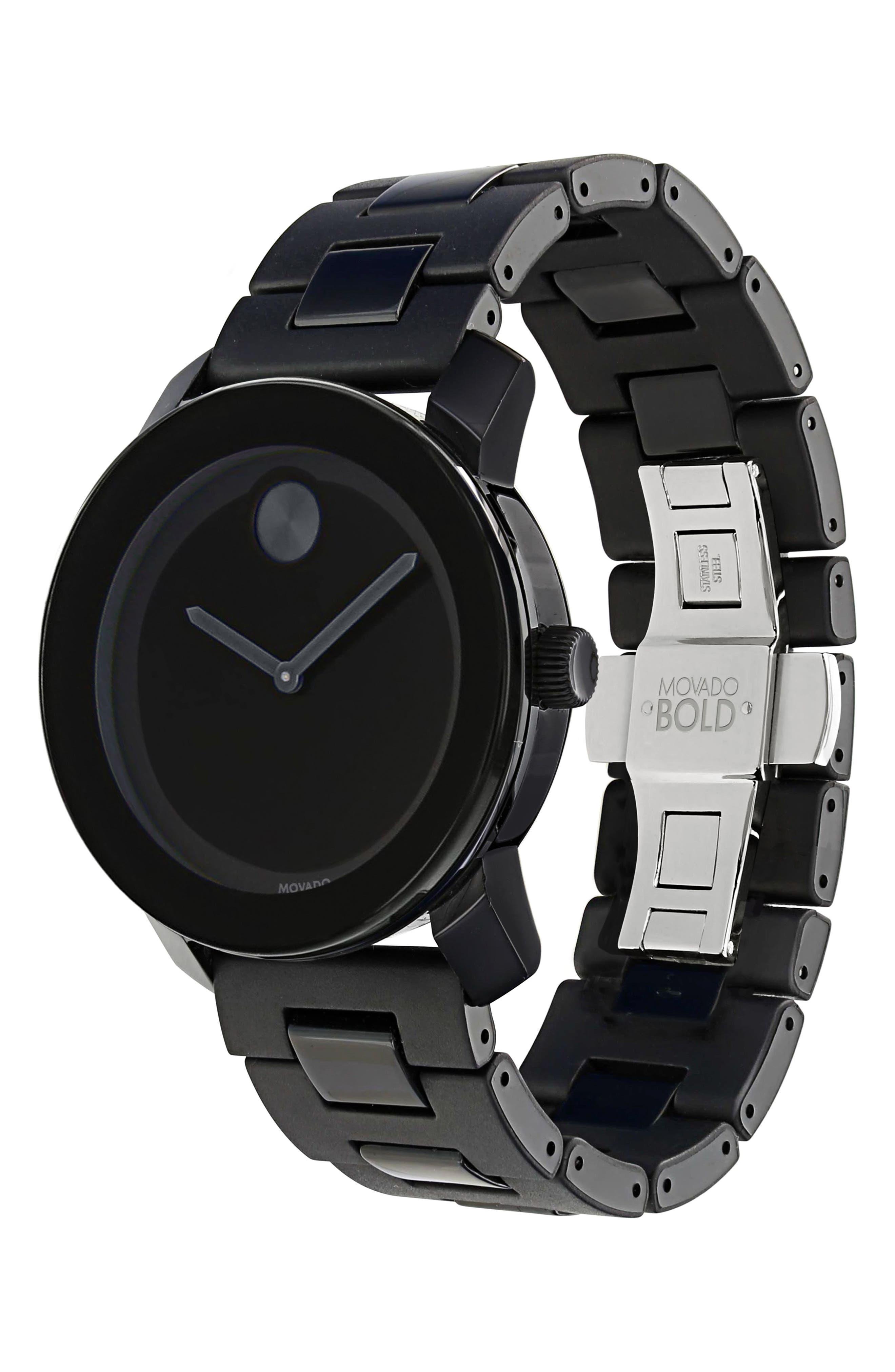 MOVADO, 'Large Bold' Bracelet Watch, 42mm, Alternate thumbnail 3, color, BLACK