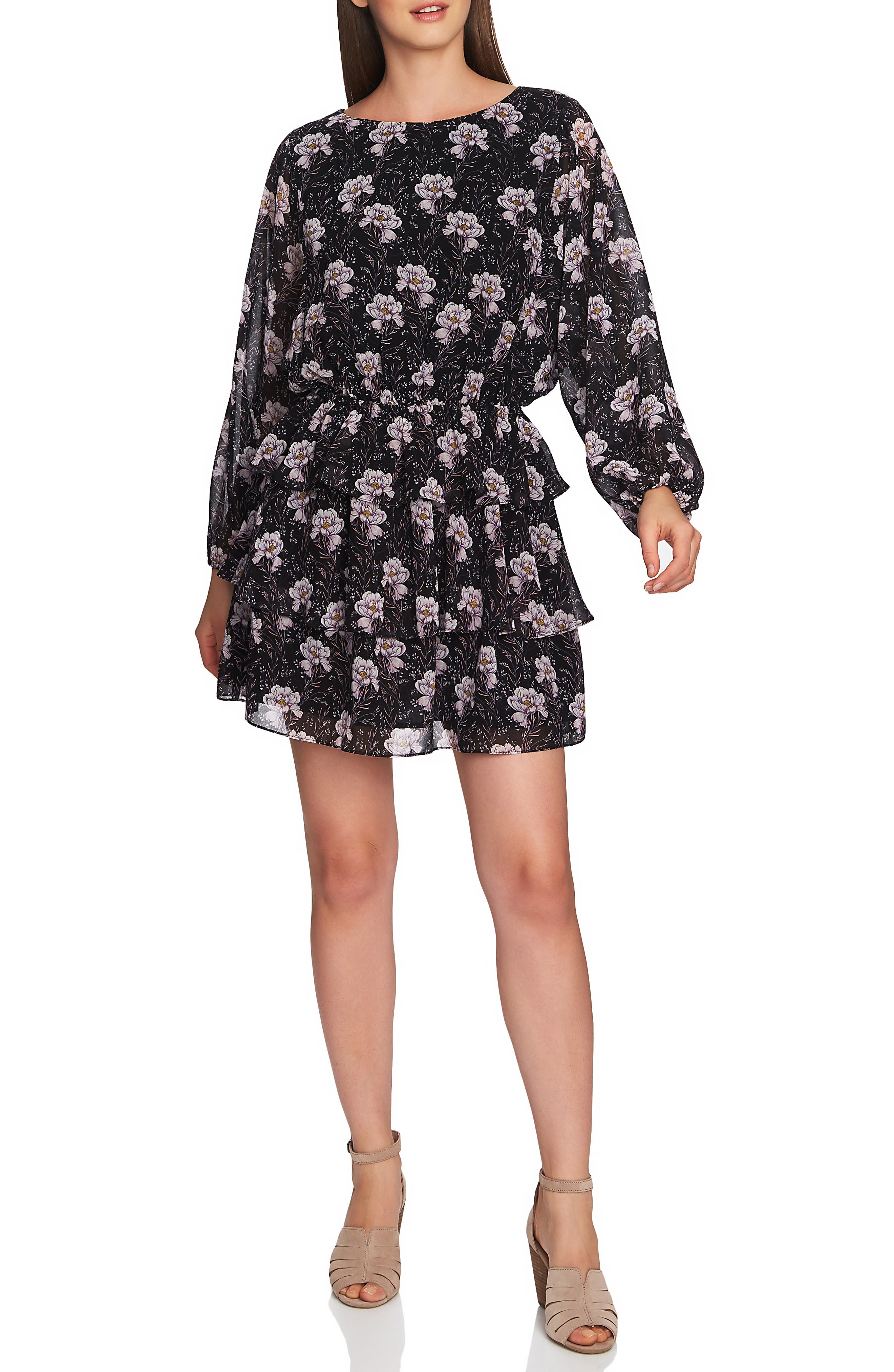 1.STATE, Bloomsbury Floral Tiered Ruffle Dress, Main thumbnail 1, color, RICH BLACK MULTI