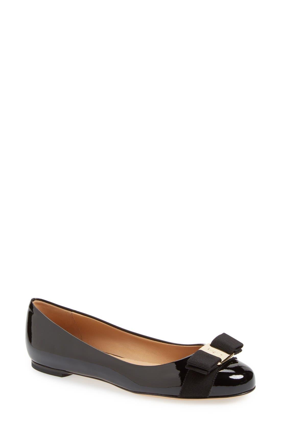 SALVATORE FERRAGAMO Varina Leather Flat, Main, color, NERO PATENT/ GOLD