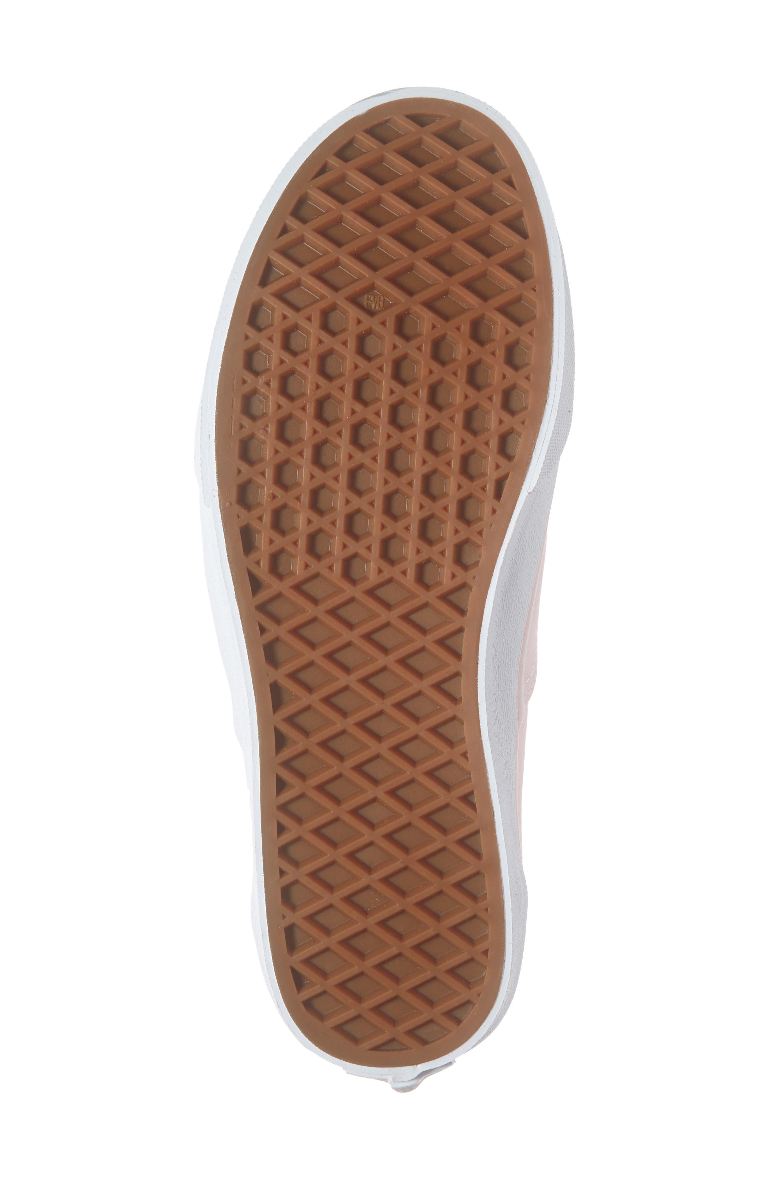 VANS, Authentic Elastic Lace Sneaker, Alternate thumbnail 6, color, CHALK PINK/ TRUE WHITE