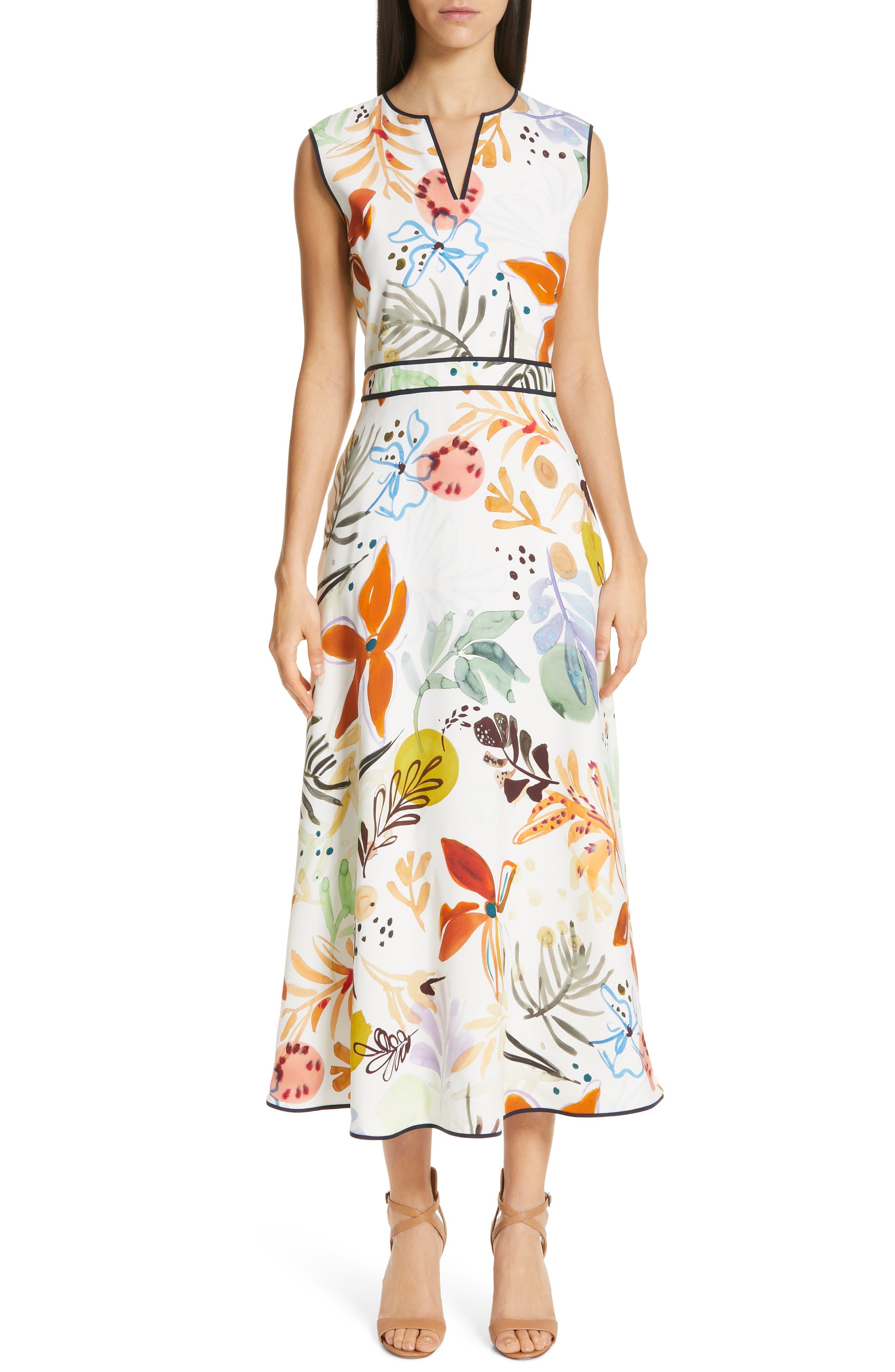 Lafayette 148 New York Janelle Floral Print Midi Dress, White