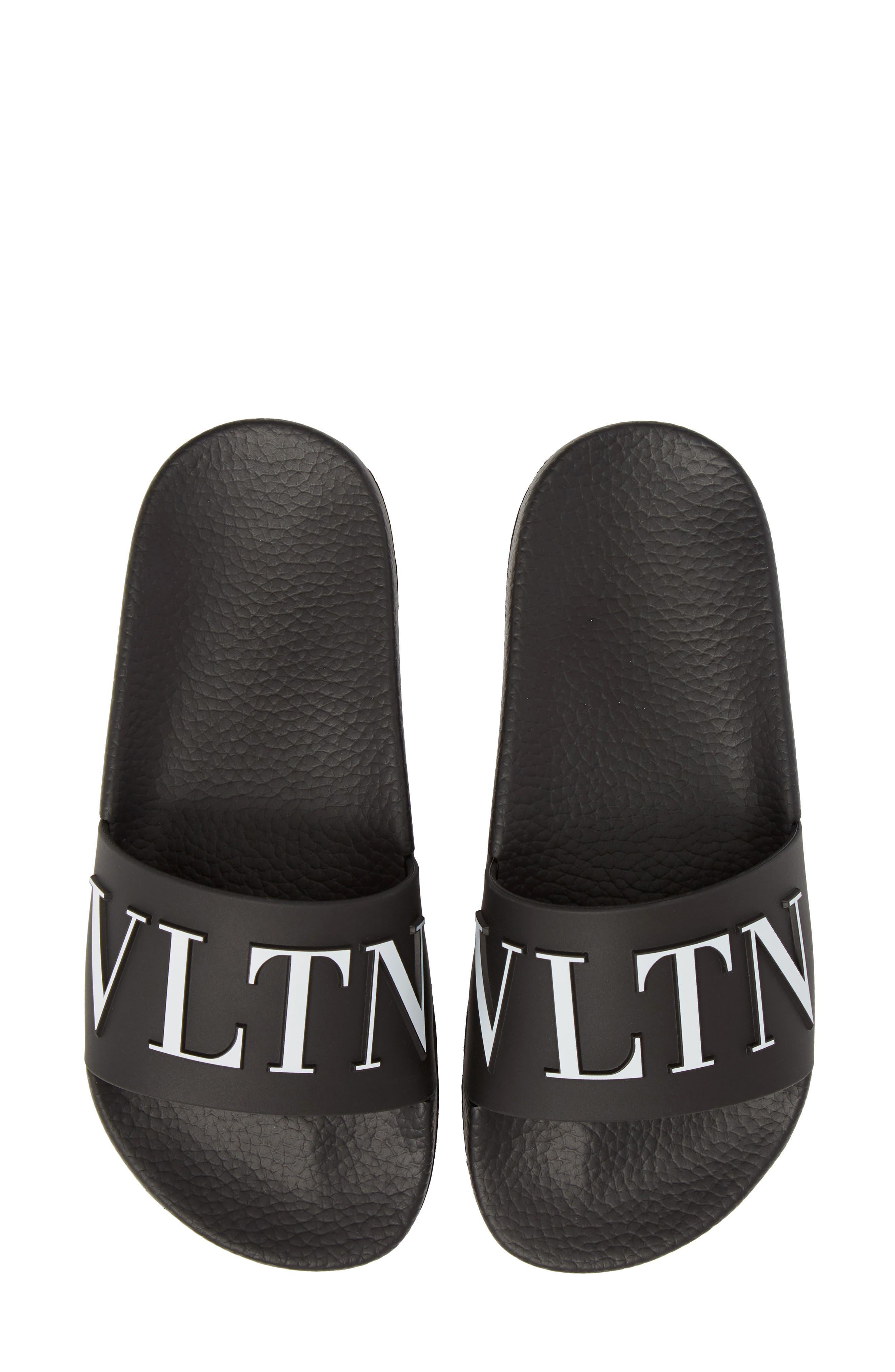 VALENTINO GARAVANI, VLTN Pool Slide Sandal, Alternate thumbnail 5, color, BLACK/ WHITE