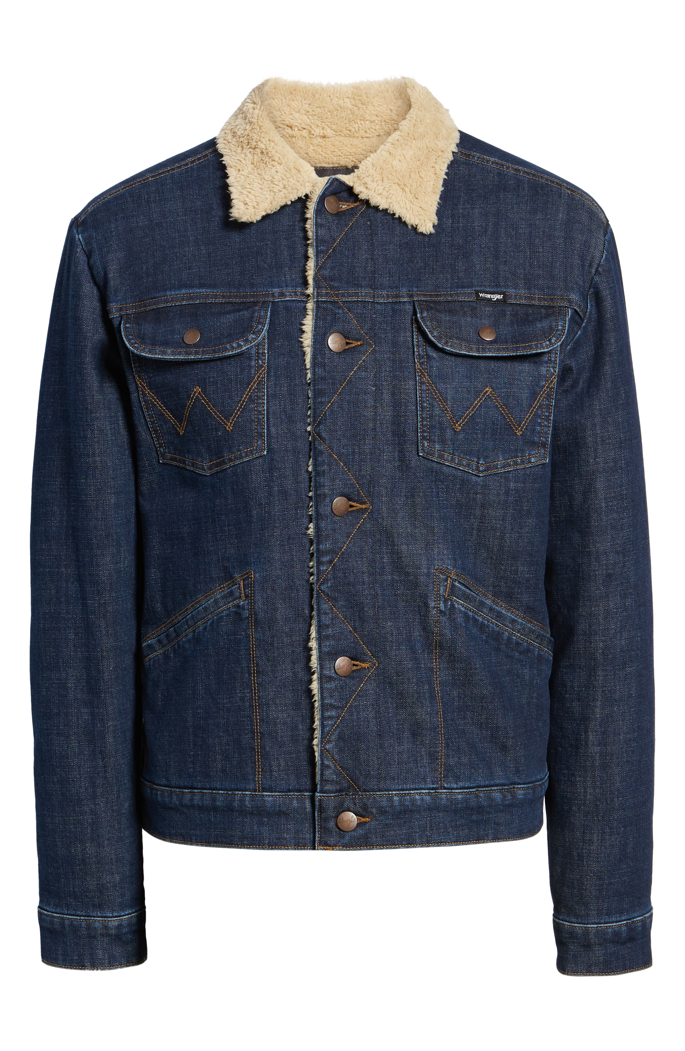 WRANGLER, Heritage Fleece Lined Denim Jacket, Alternate thumbnail 6, color, 472