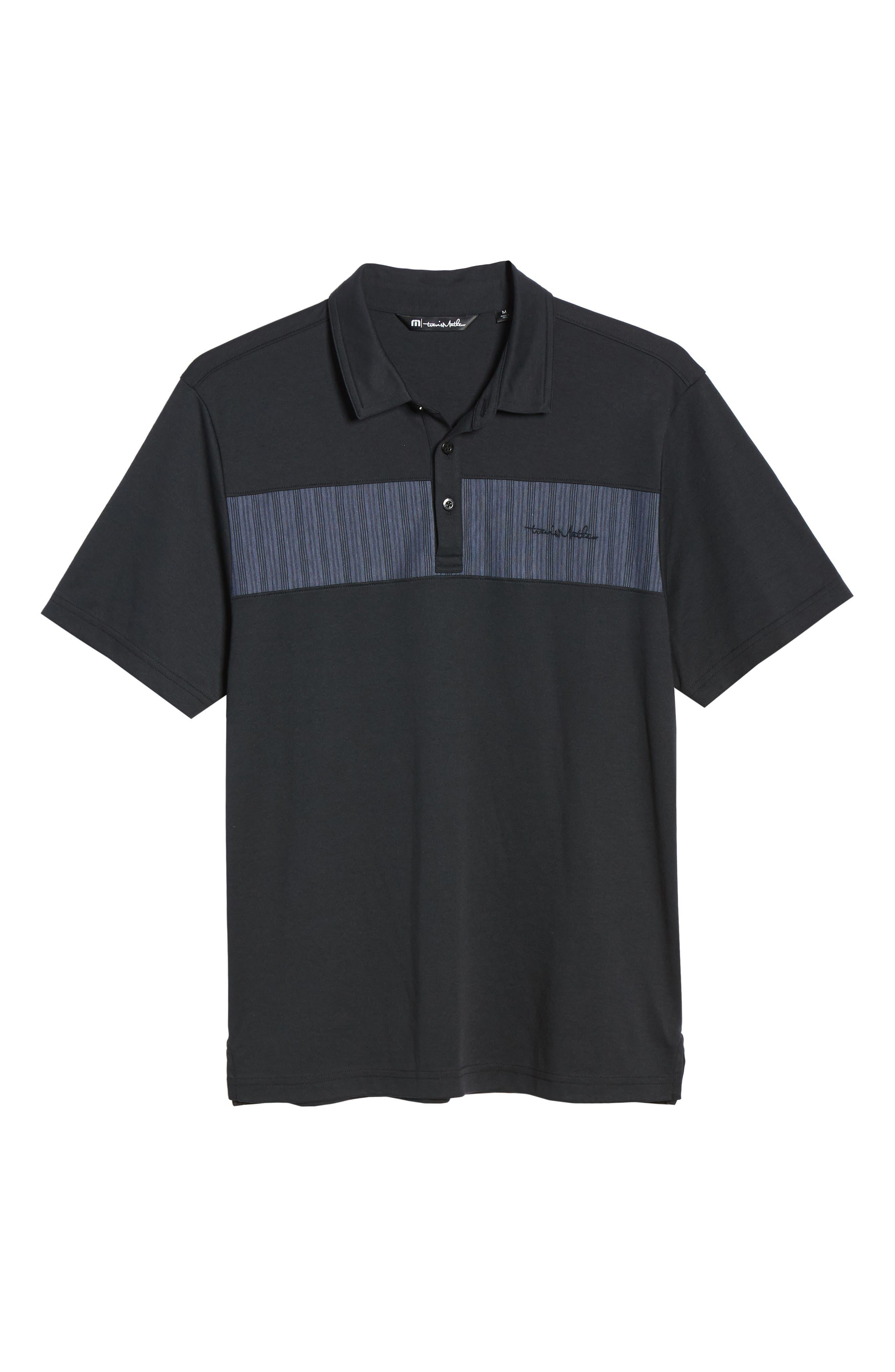 TRAVISMATHEW, Burns Regular Fit Polo, Alternate thumbnail 6, color, BLACK