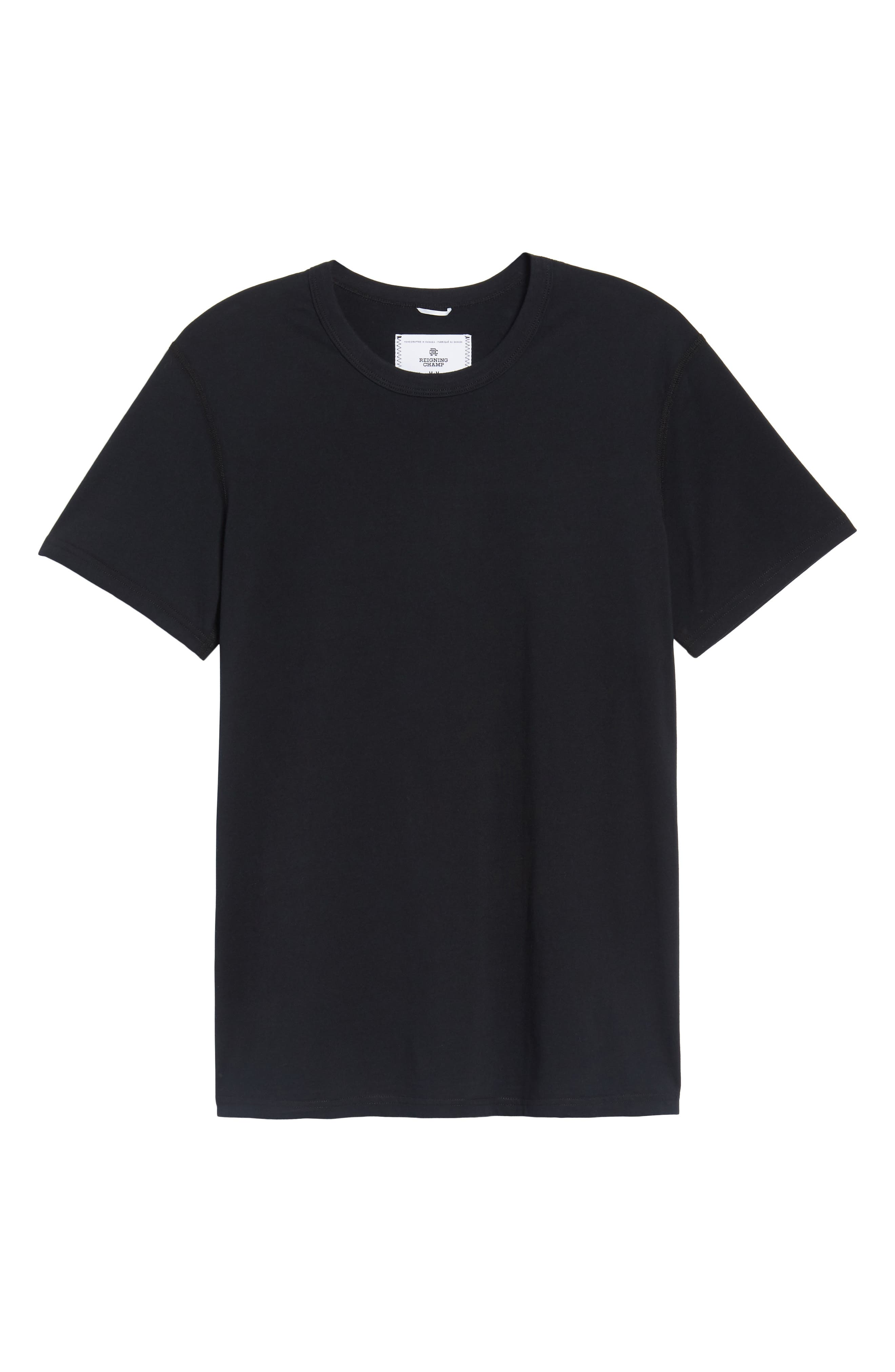 REIGNING CHAMP Short Sleeve Crewneck T-Shirt, Main, color, BLACK