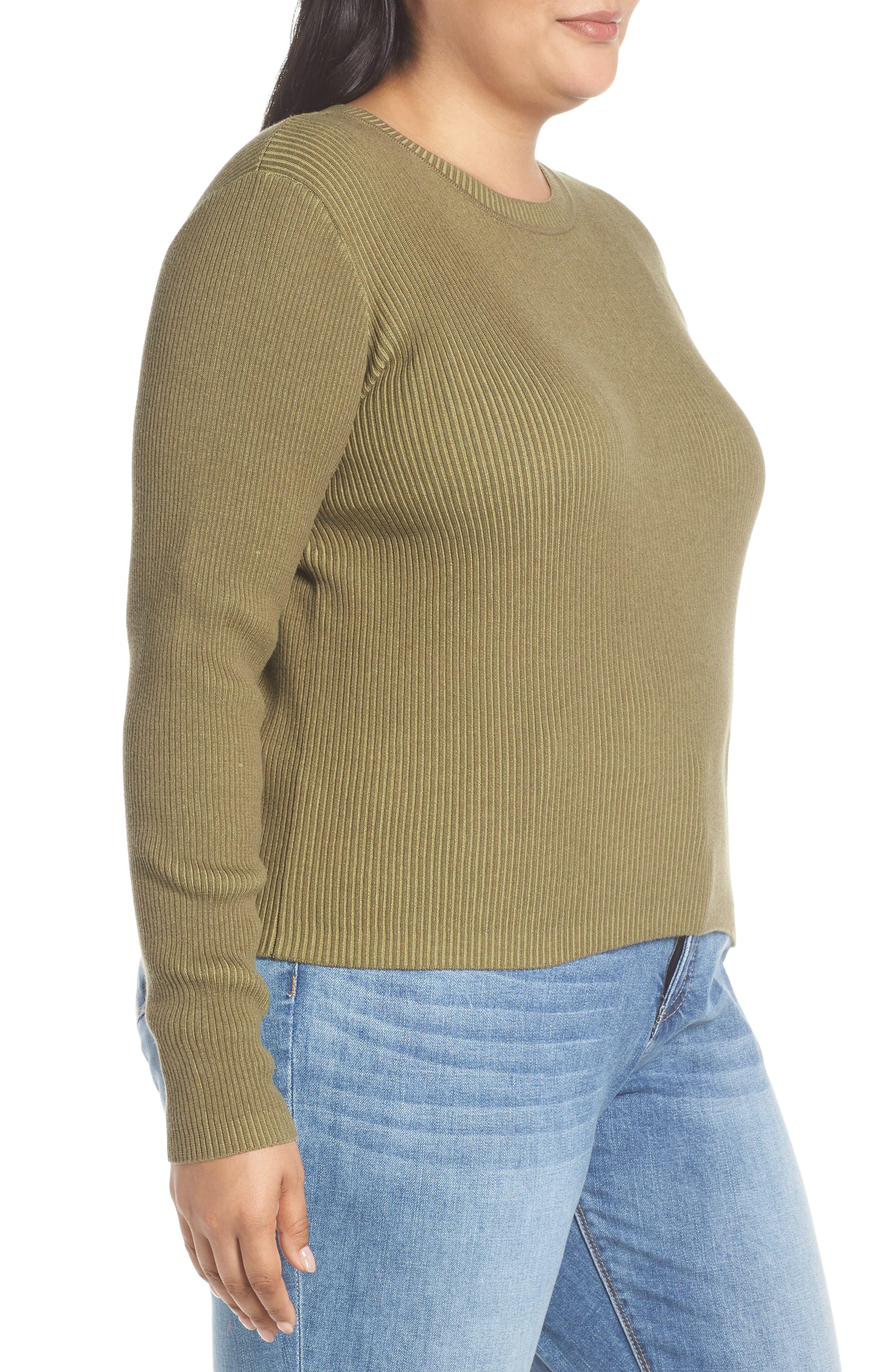 BP., Plaited Rib Sweater, Alternate thumbnail 9, color, OLIVE BURNT