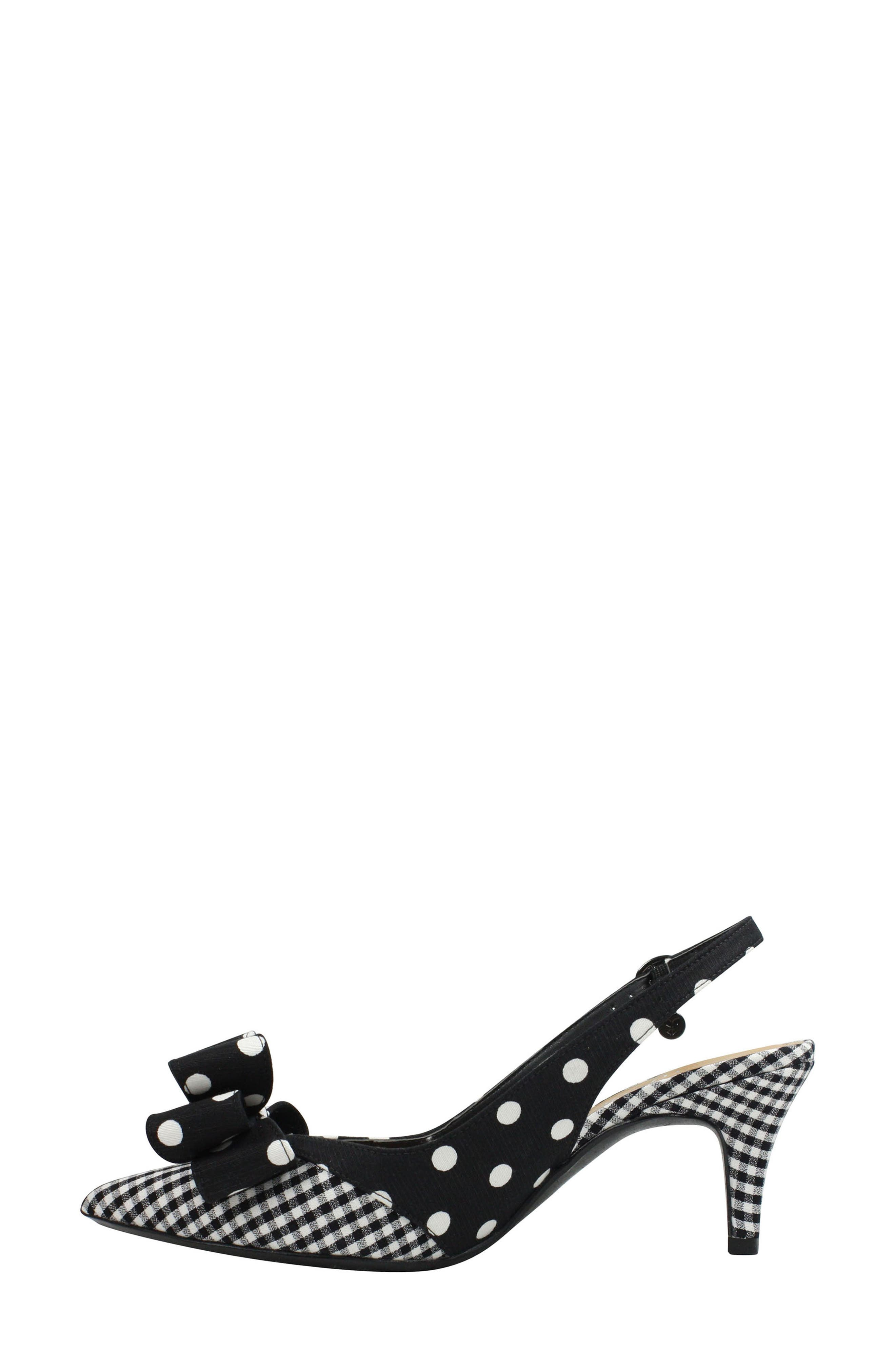 J. RENEÉ, Gabino Slingback Pump, Alternate thumbnail 7, color, BLACK/ WHITE PRINT FABRIC