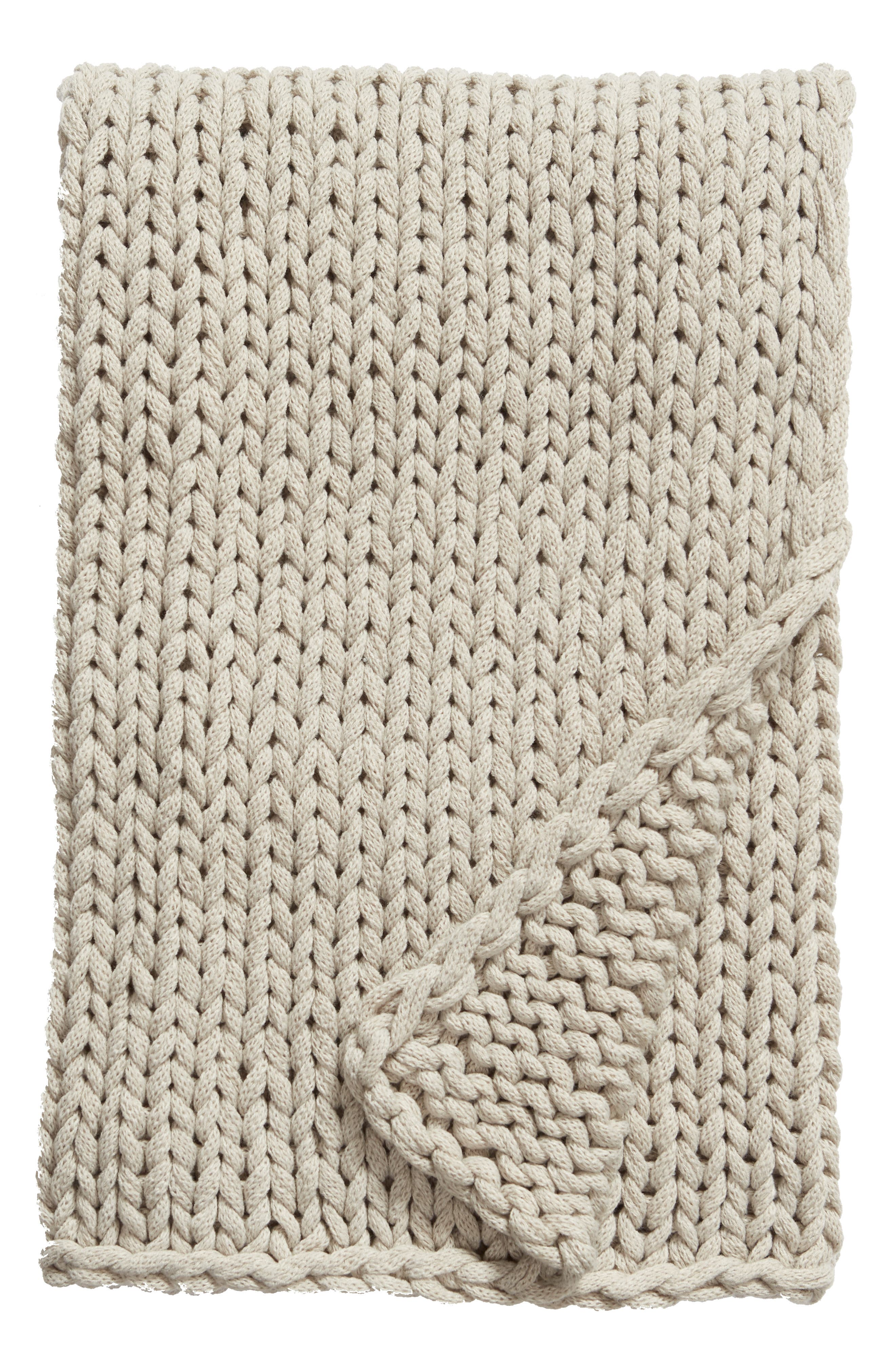 TREASURE & BOND Jersey Rope Throw Blanket, Main, color, GREY OWL