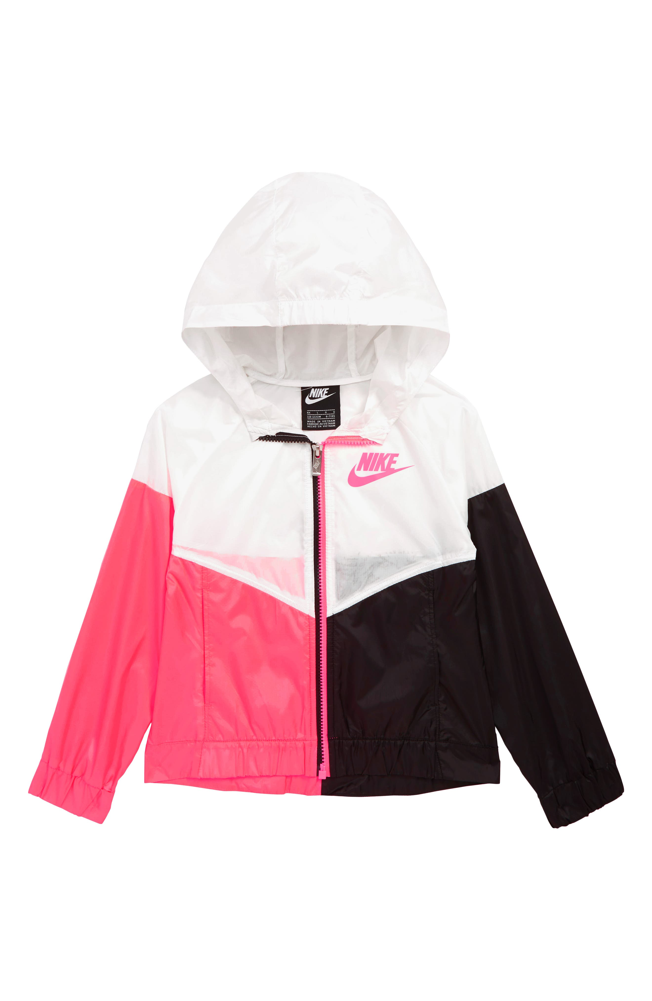 NIKE, Windrunner Water Repellent Hooded Jacket, Main thumbnail 1, color, RACER PINK