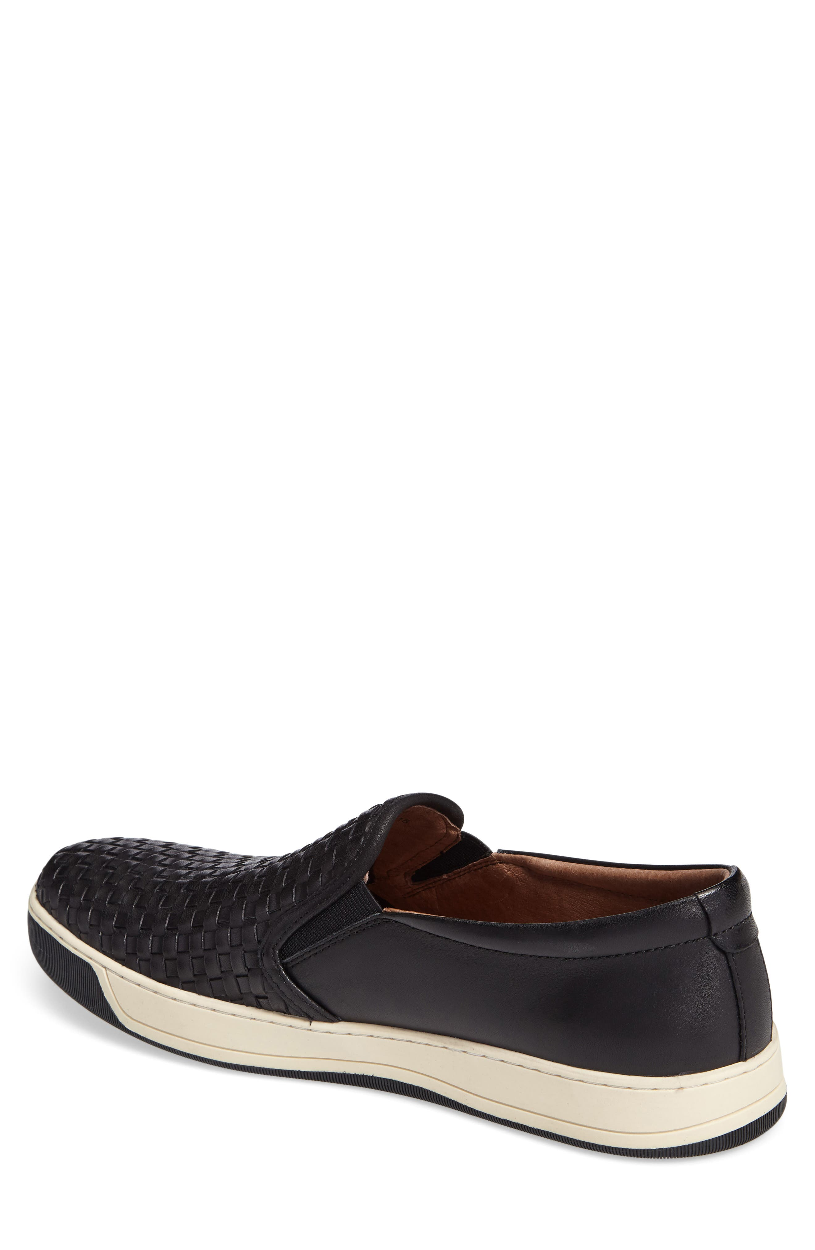 J&M 1850, Allister Slip-On Sneaker, Alternate thumbnail 2, color, BLACK LEATHER