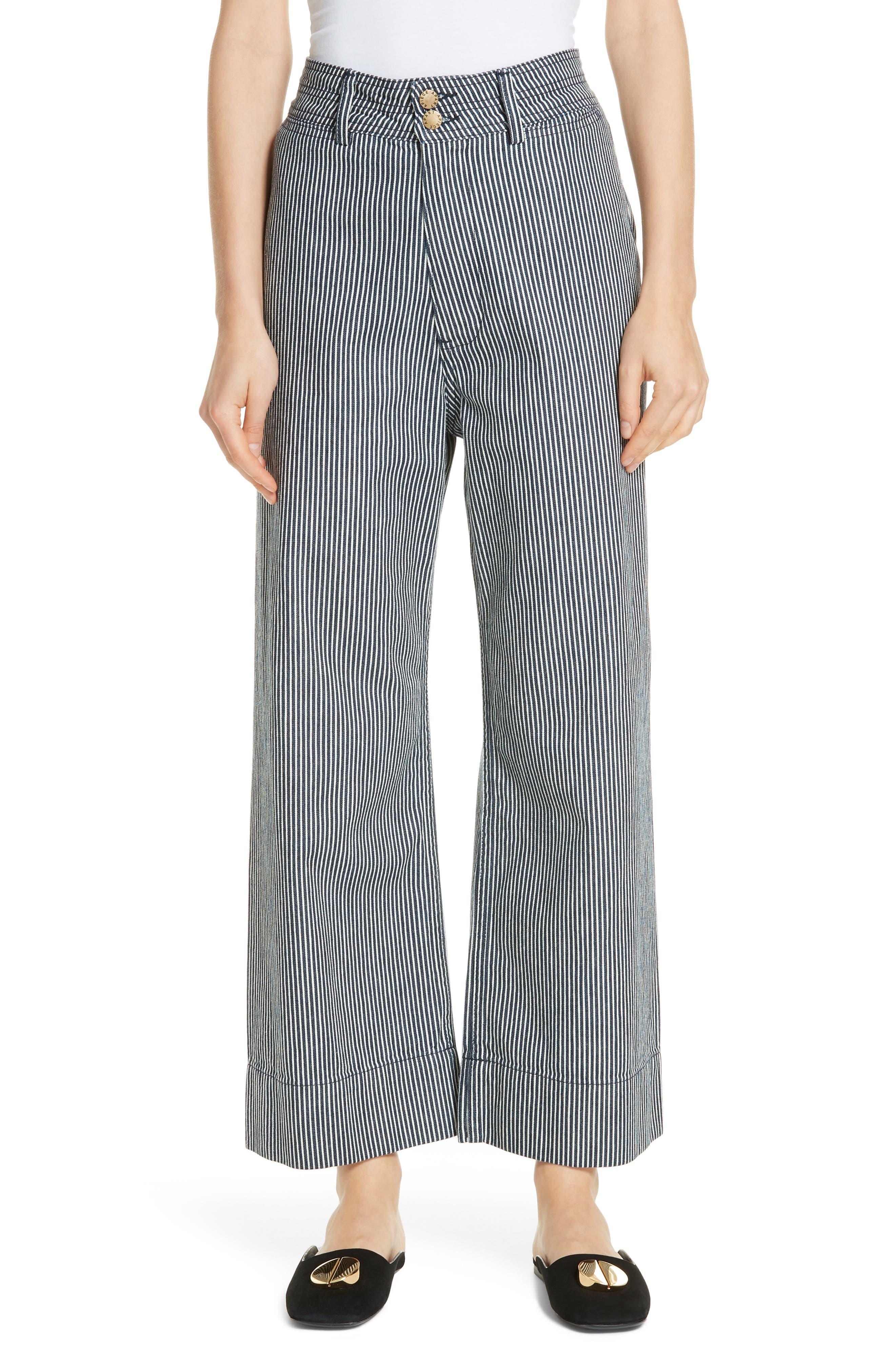 Merida Stripe Denim Wide Leg Pants by Apiece Apart