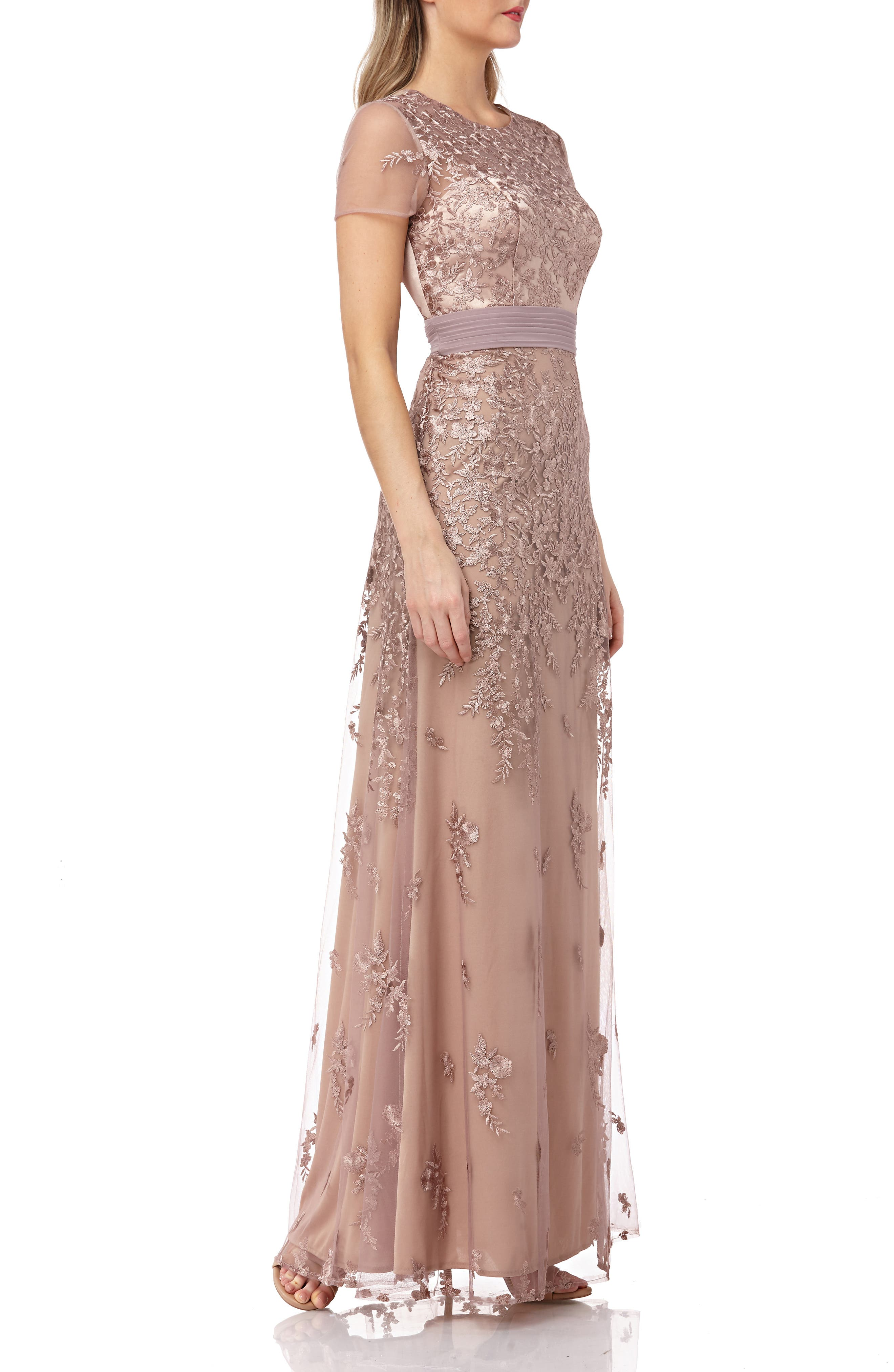 JS COLLECTIONS, Floral Embroidered Evening Dress, Alternate thumbnail 4, color, MAPLE SUGAR