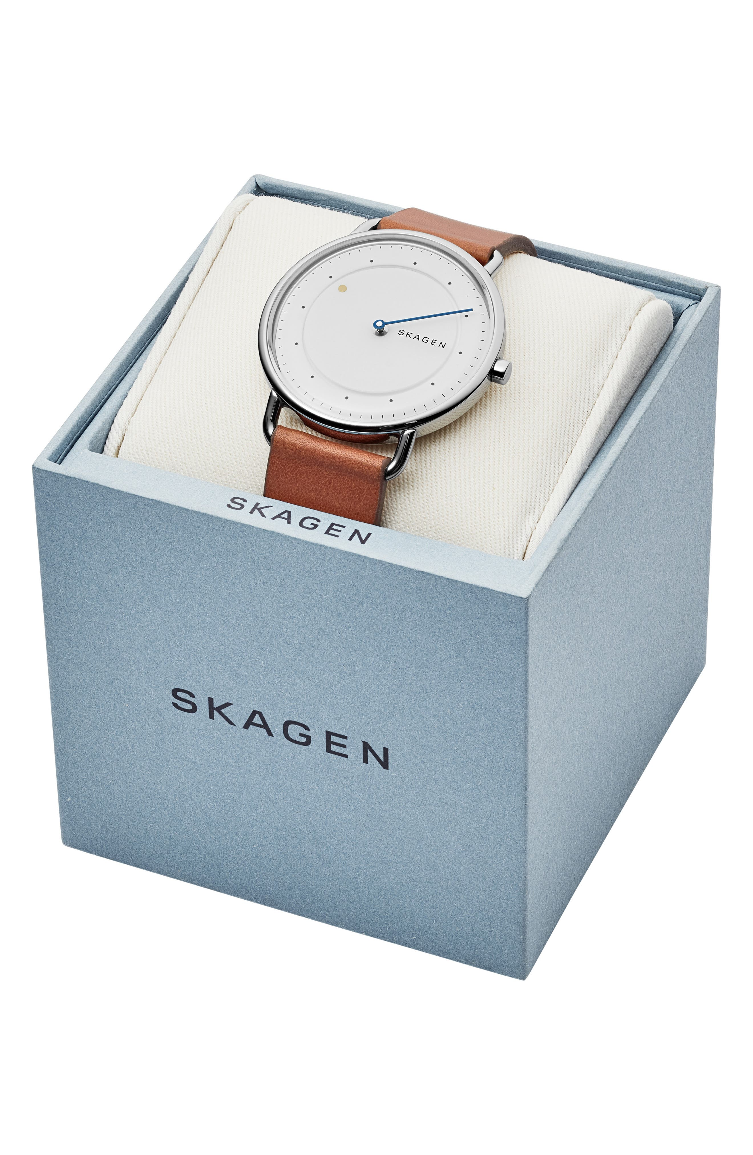 SKAGEN, Horisont Leather Strap Watch, 40mm, Alternate thumbnail 7, color, 200