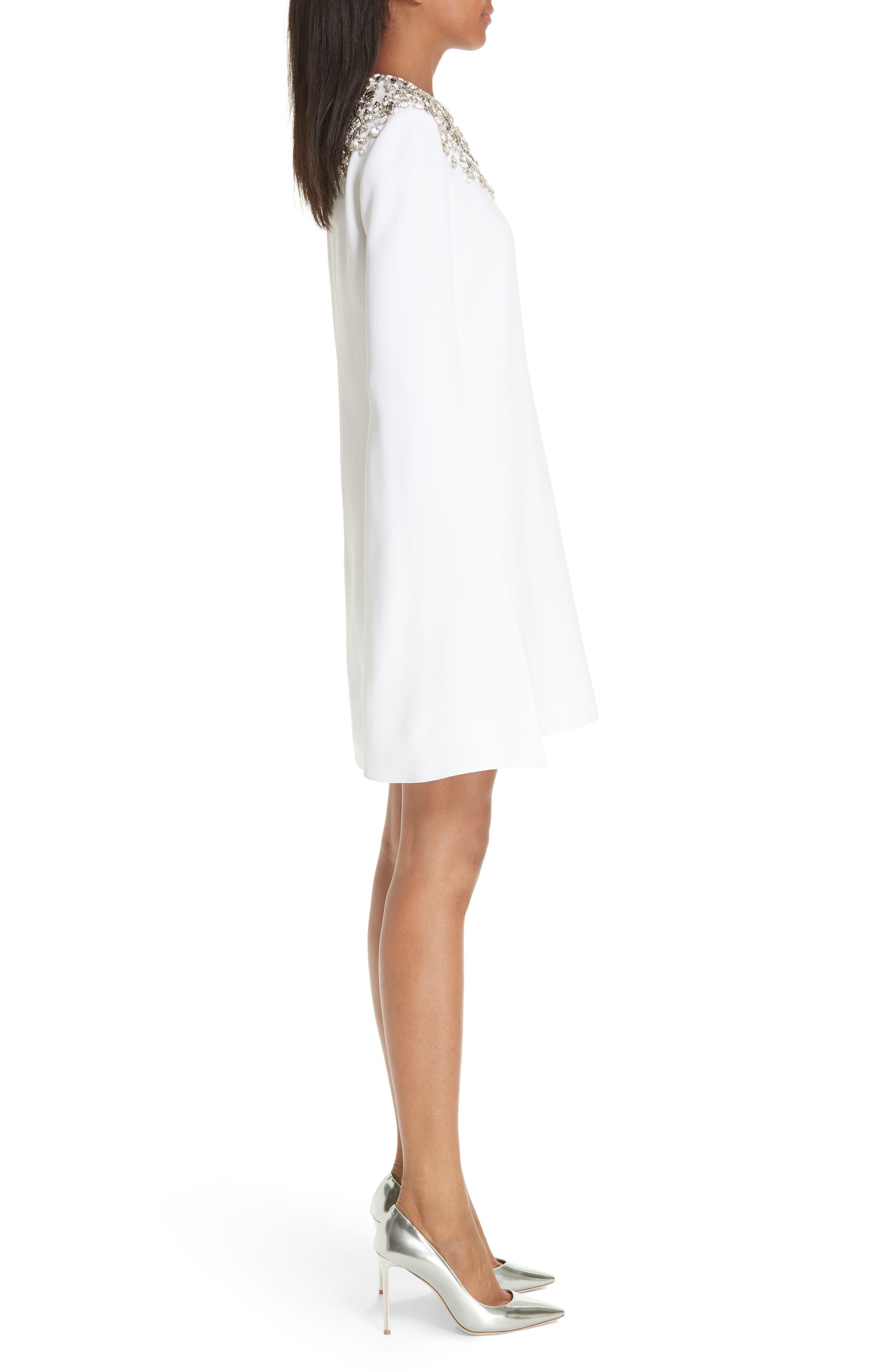MICHAEL KORS, Crystal Embellished Split Sleeve Double Crepe Sable Dress, Alternate thumbnail 4, color, OPTIC WHITE W/ SILVER