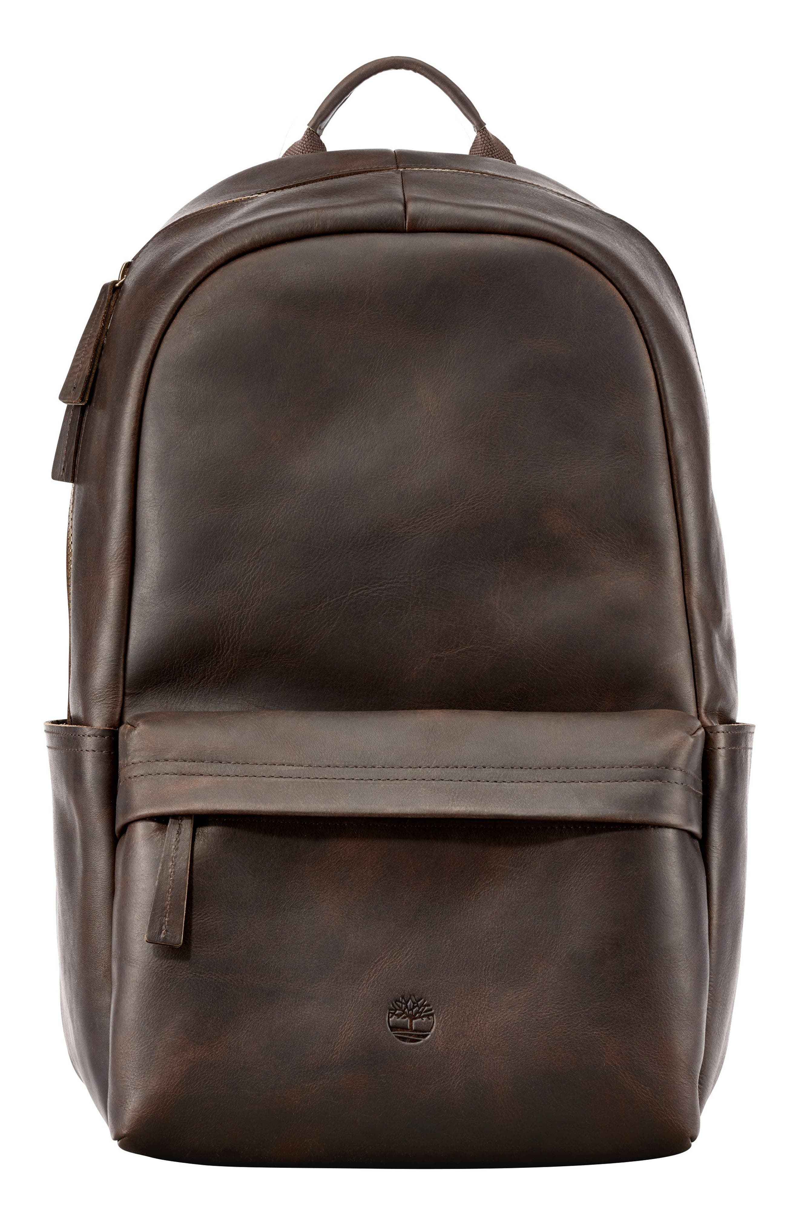 TIMBERLAND Tuckerman Leather Backpack, Main, color, 200