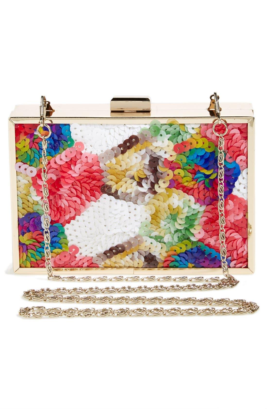TASHA, 'Sequin Rainbow' Box Clutch, Alternate thumbnail 4, color, 400